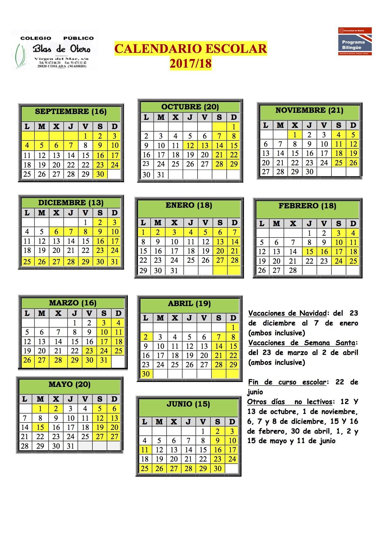 Calendario Escolar 2017 2018 – CP Blas de Otero
