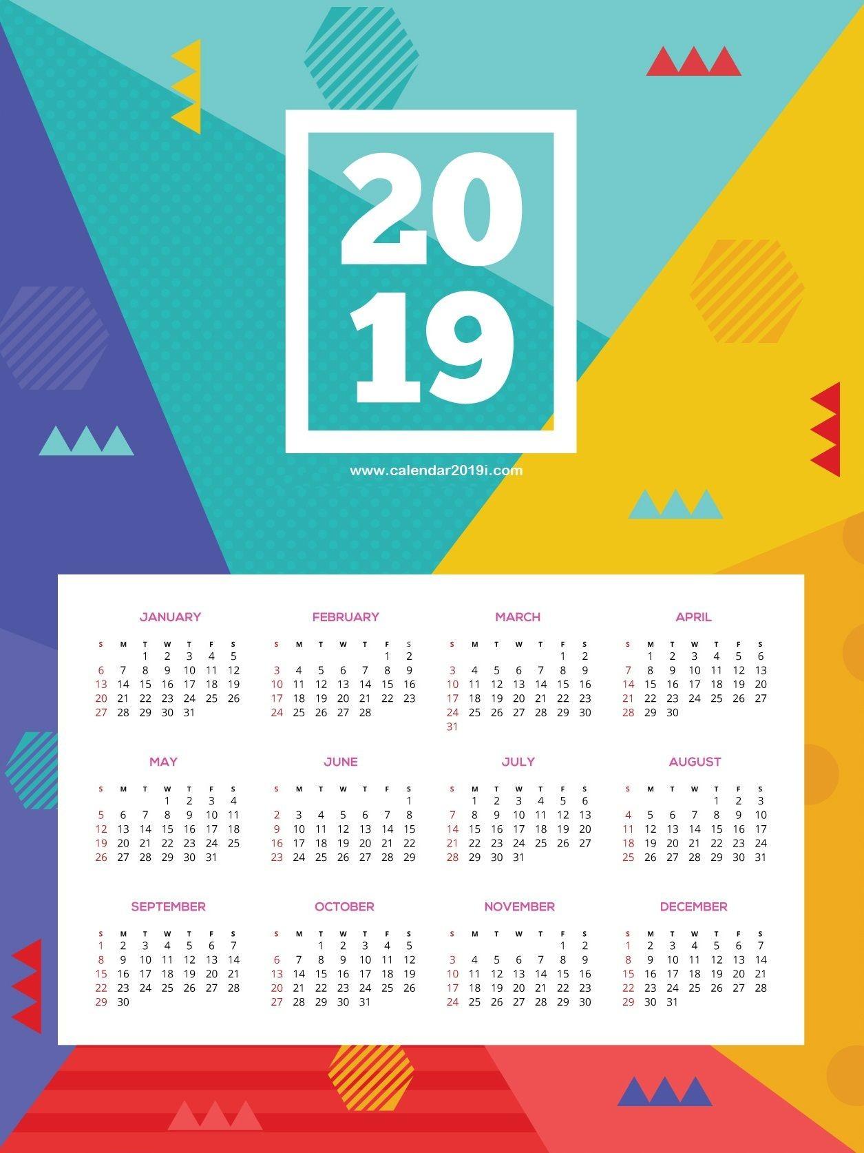 Printable 2019 HD Wall Calendar