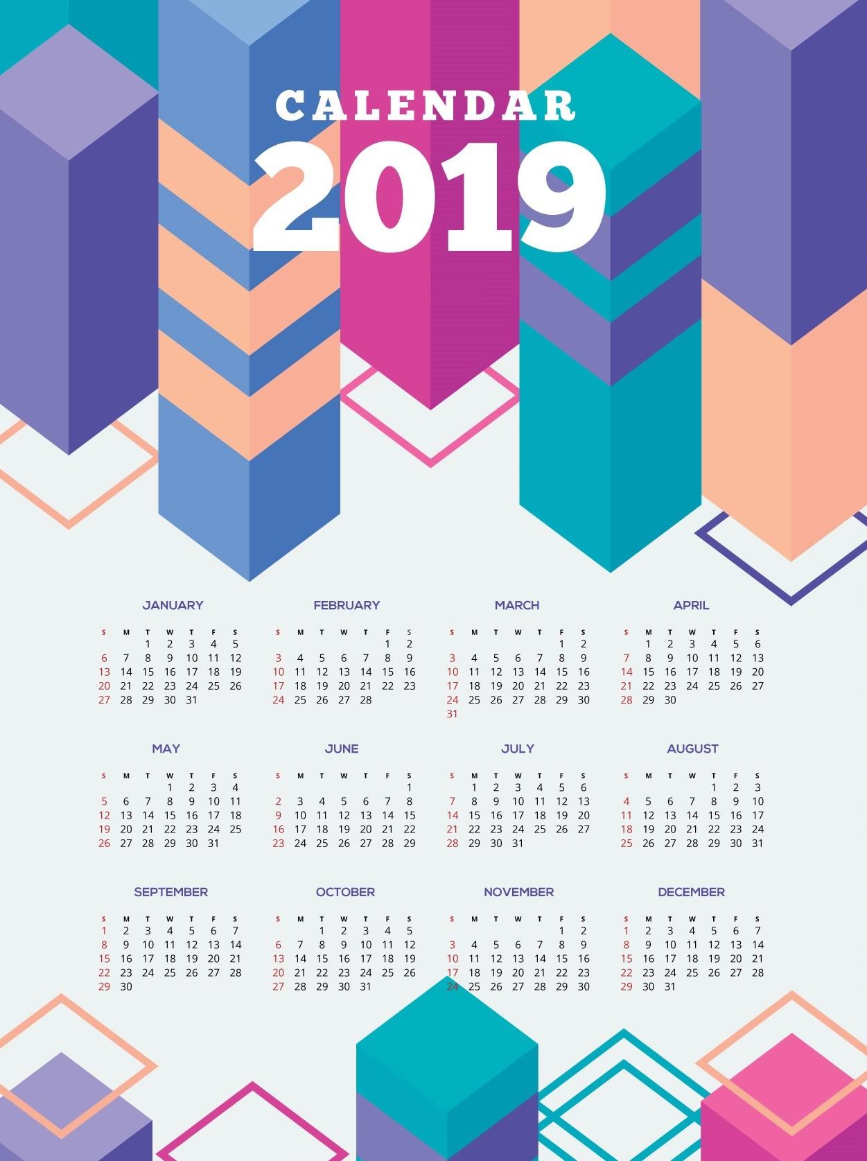 Geometric Calendar For 2019 Pretty Printable 2019 Calendar Pretty Printable 2019 Calendar Printable 2019 Calendar Free Download