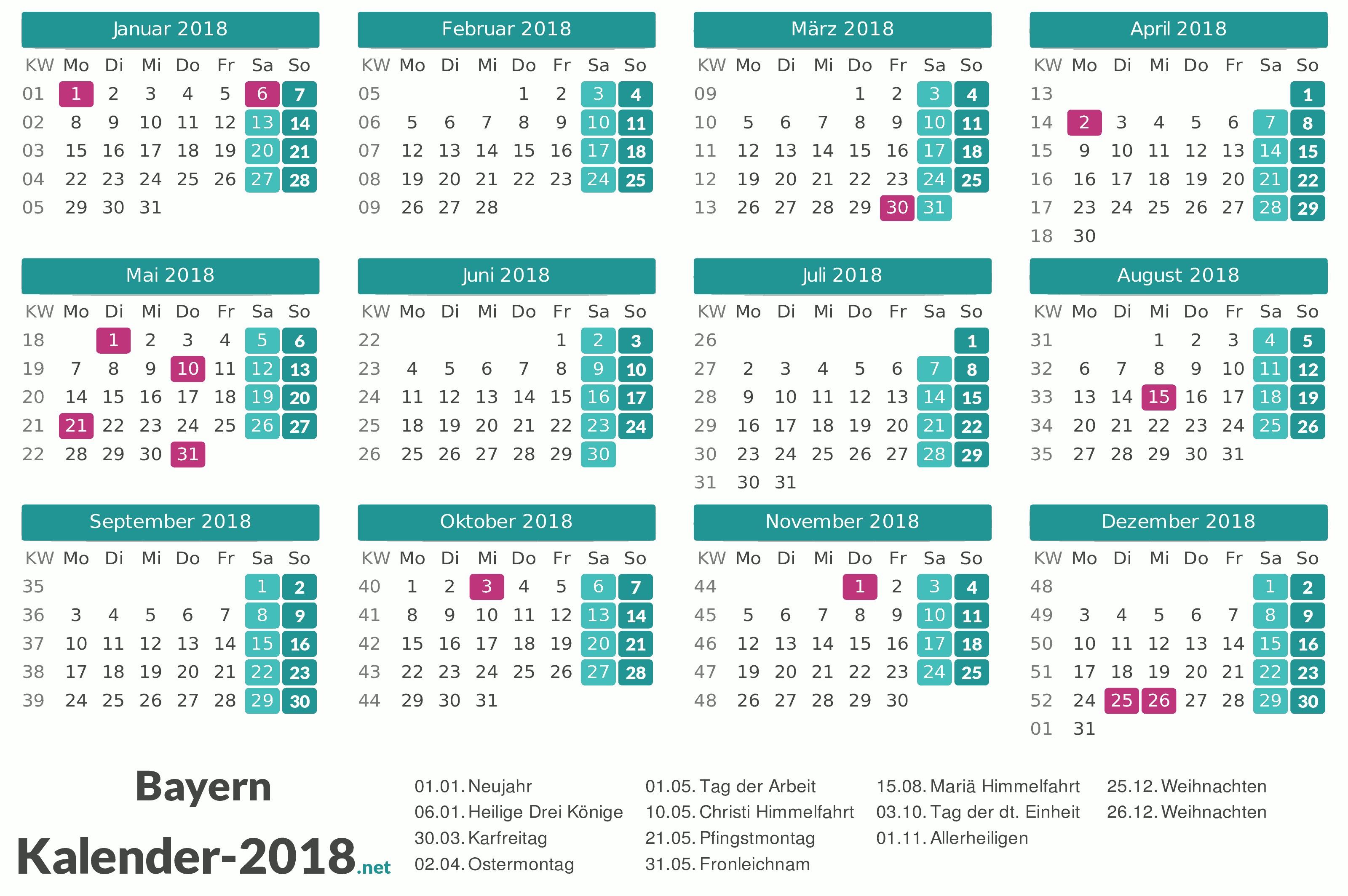 Bayern Kalender 2018 Feiertage