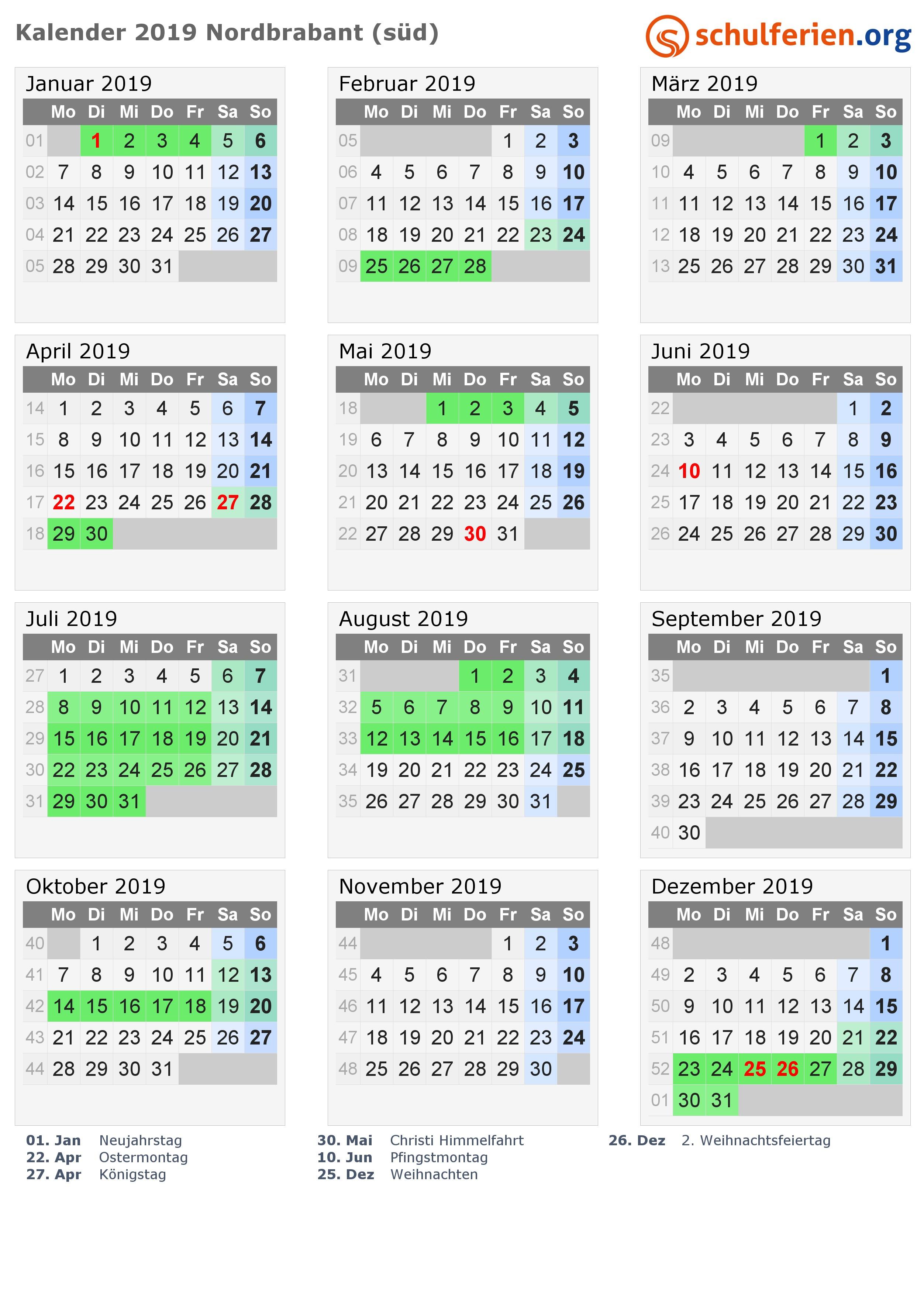 Kalender 2019 Nordbrabant süd
