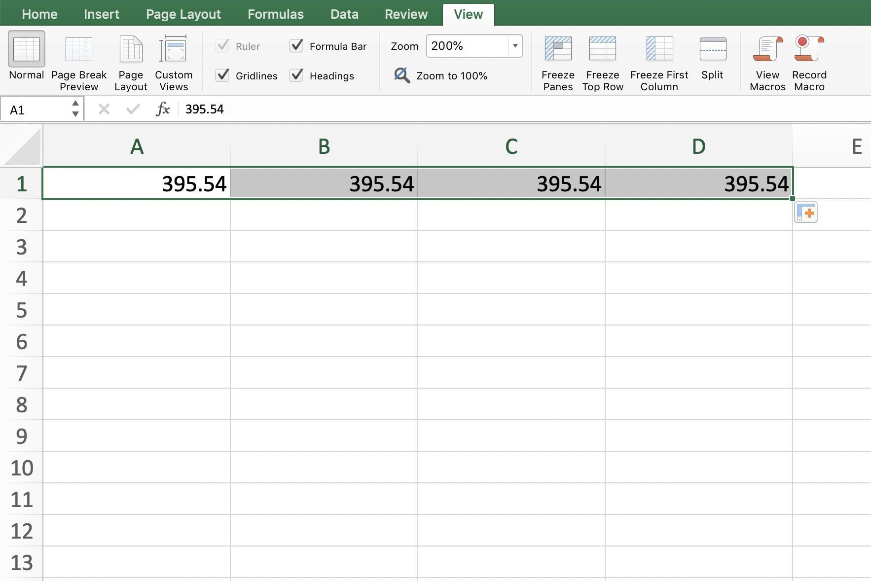 Screenshot of Excel showing the Auto Fill solution