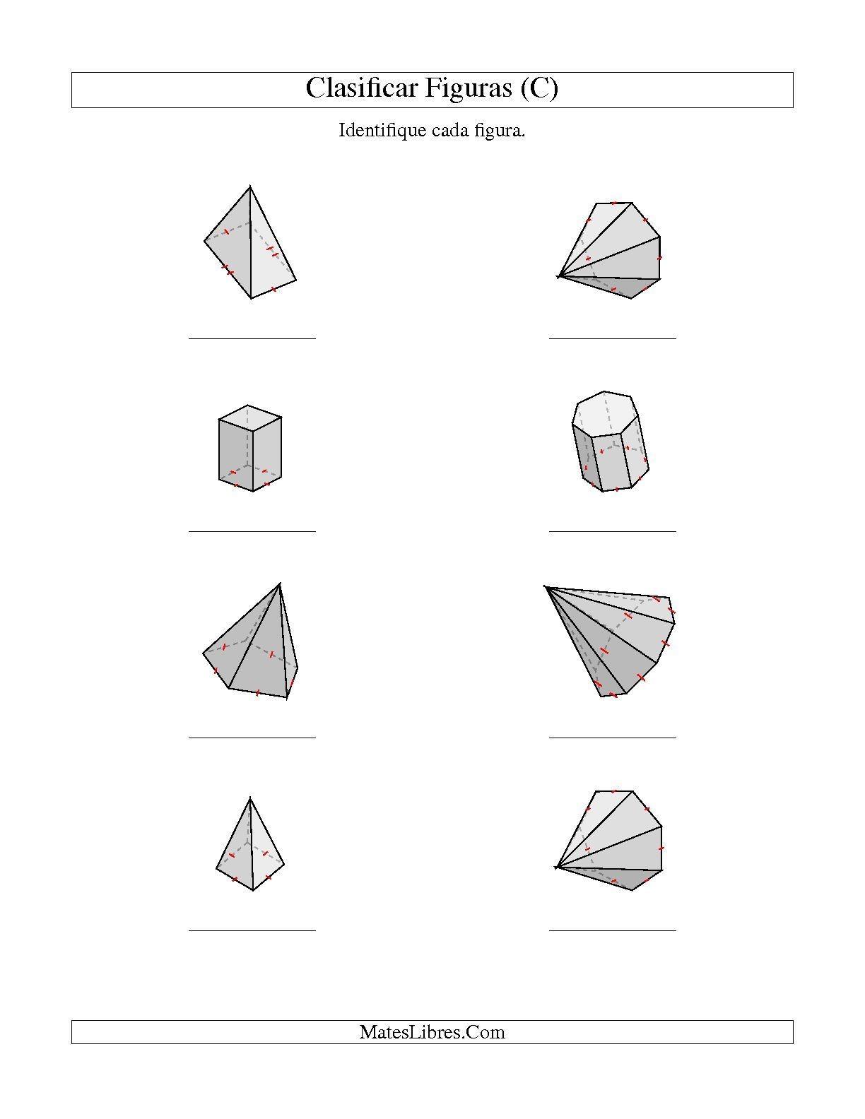 La hoja de ejercicios de Clasificar Prismas y Pirámides C de la página de Hojas de Ejercicios de Geometra en MatesLibres