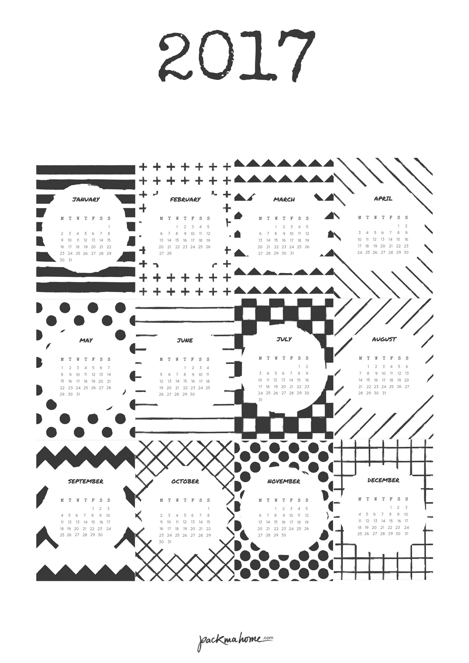 Get a free printable 2017 calendar Two versions included Check it out Más