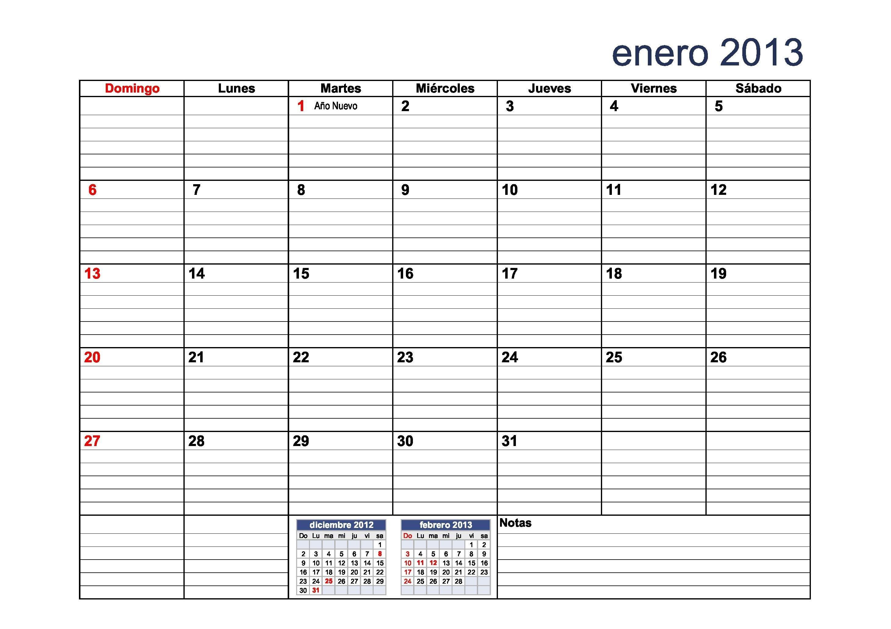 calendario 2013 para pletar con el calendario docente con rayas