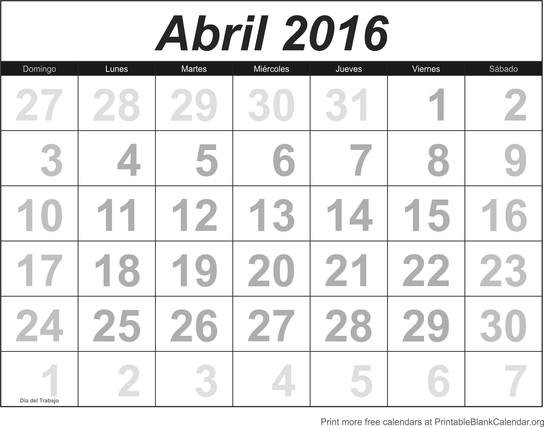 imprimir calendario abril 2016