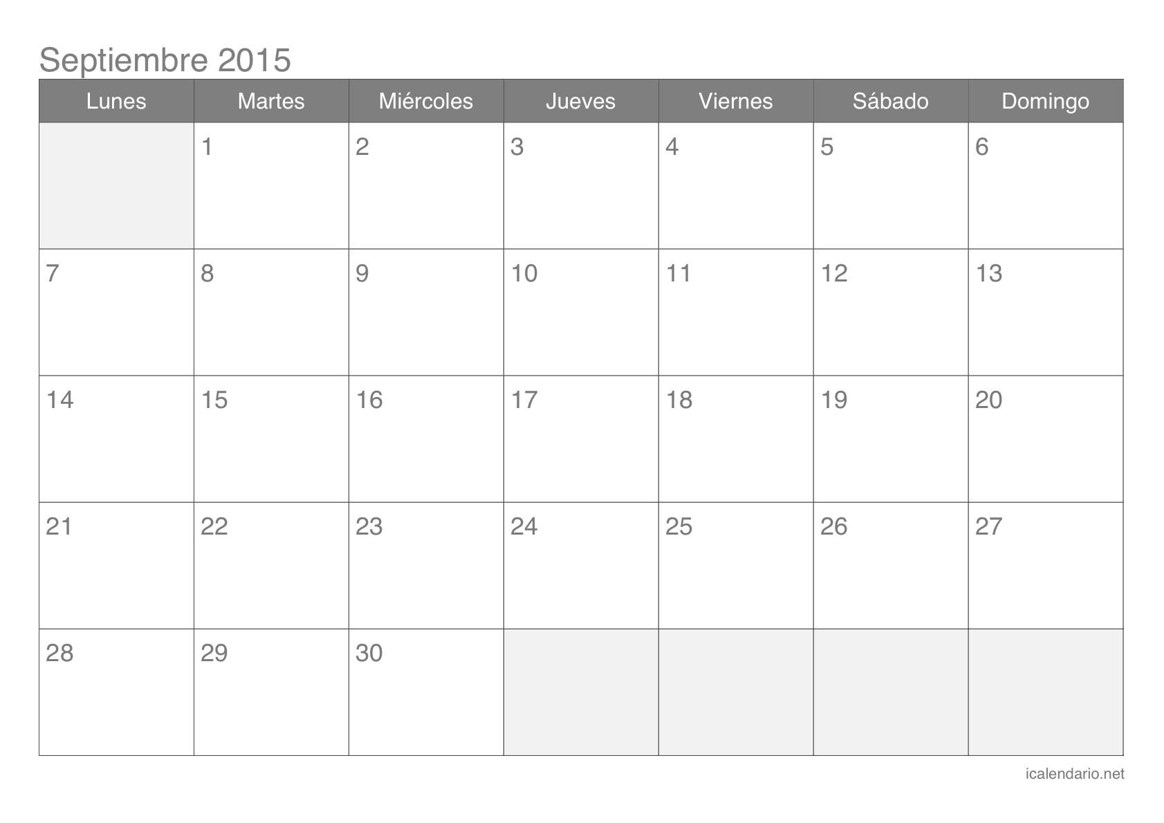 calendario septiembre 2015 para imprimir icalendario net