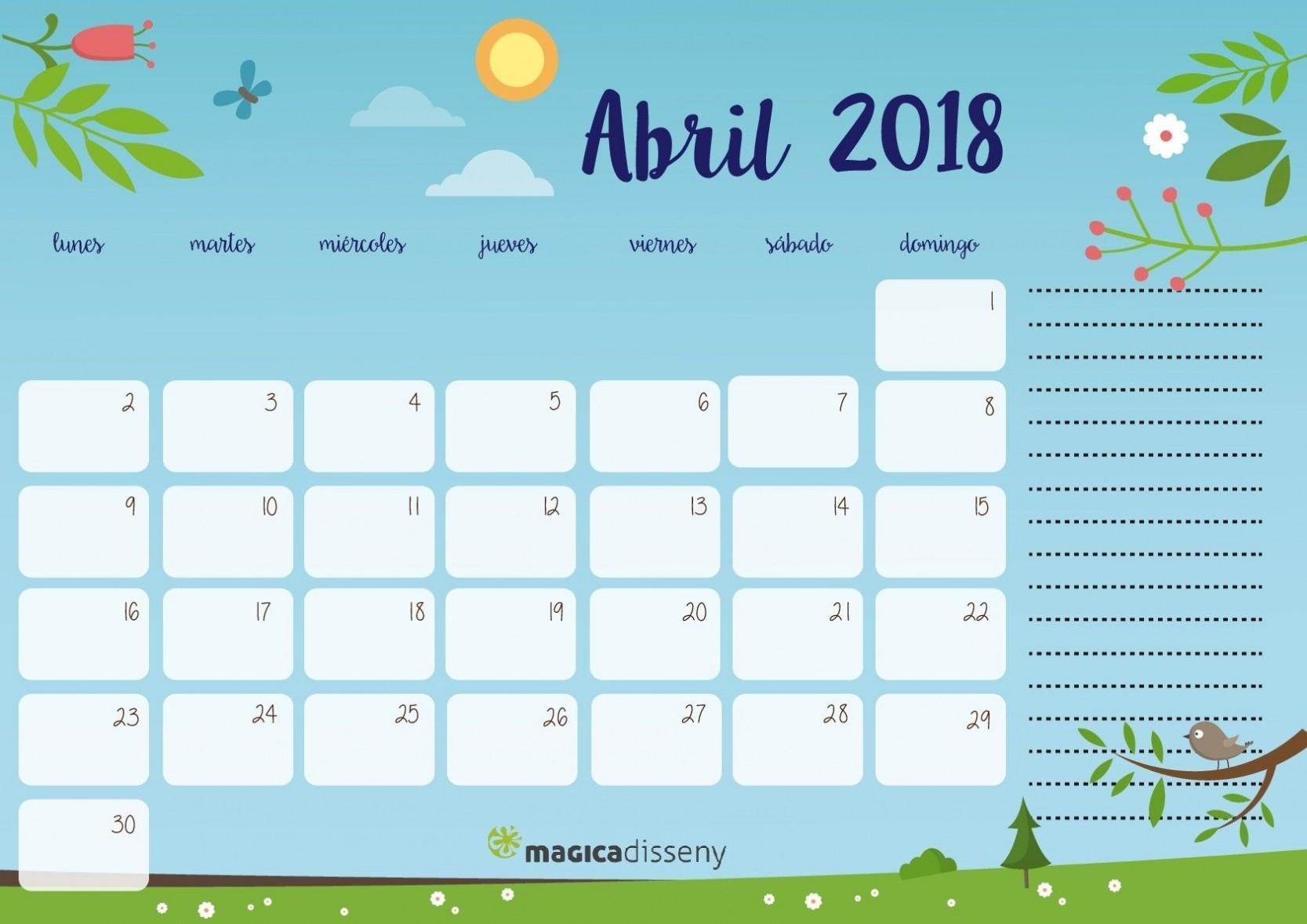 hoja calendario Abril 2018