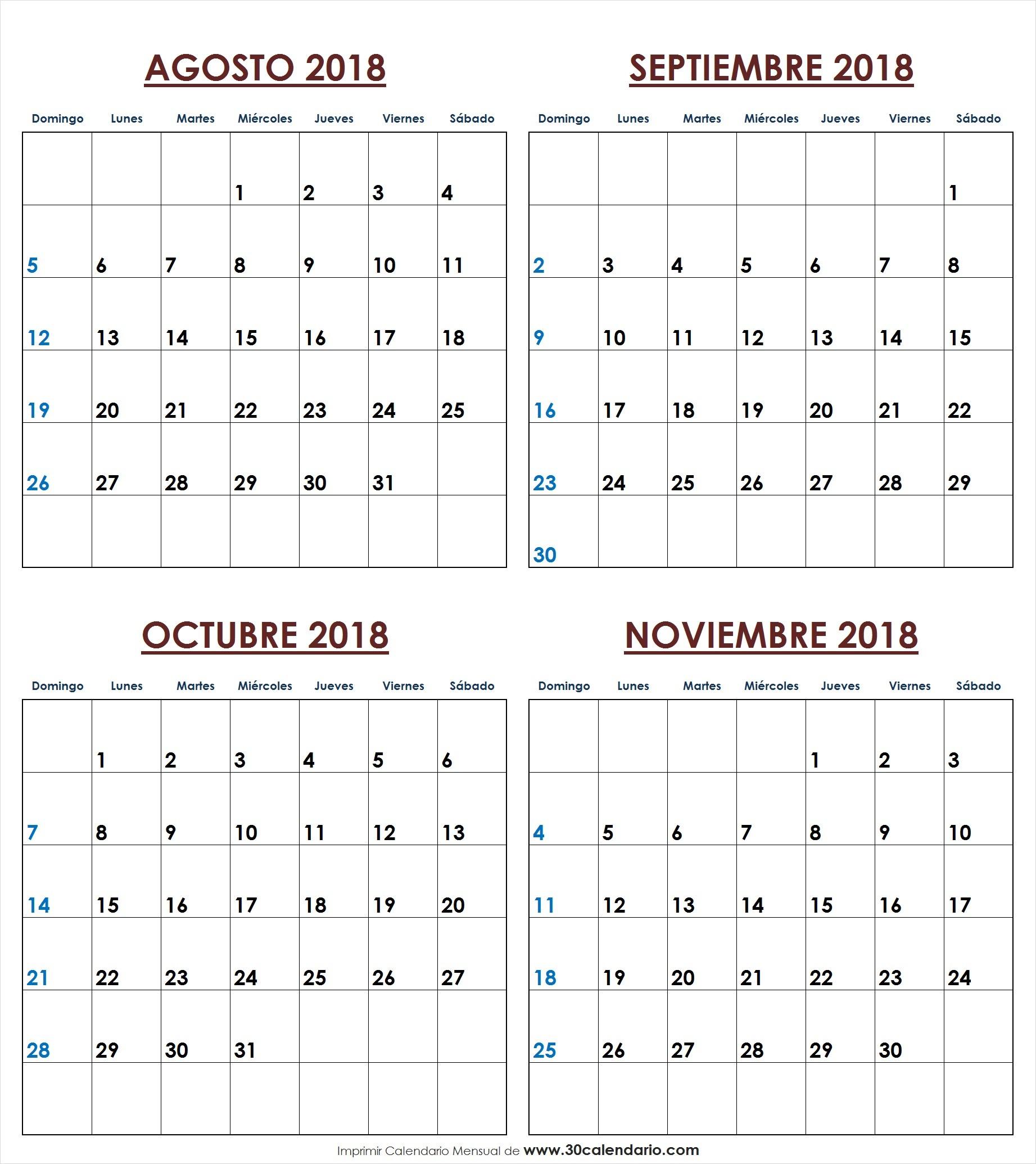 Imprimir Blanco Calendario Agosto Septiembre Octubre Noviembre 2018 PNG
