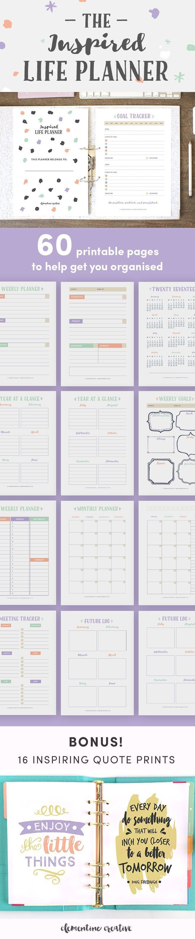 The Inspired Life Planner a pretty printable planner for 2018