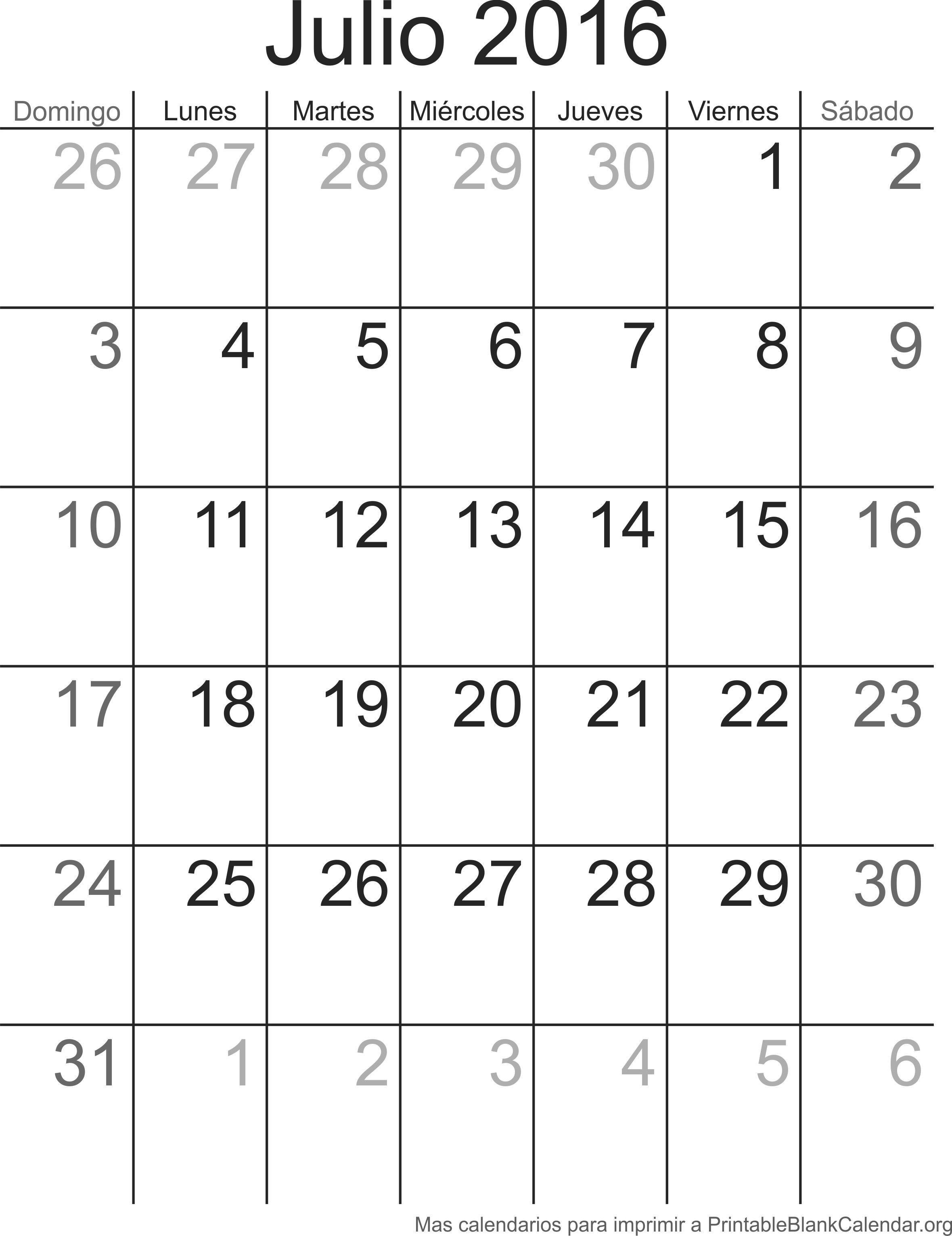 calendario julio 2016 para imprimir resume jun calendarios Search for