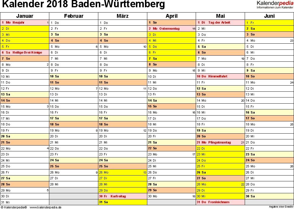 kalender 2018 baden wuerttemberg excel vorlagen