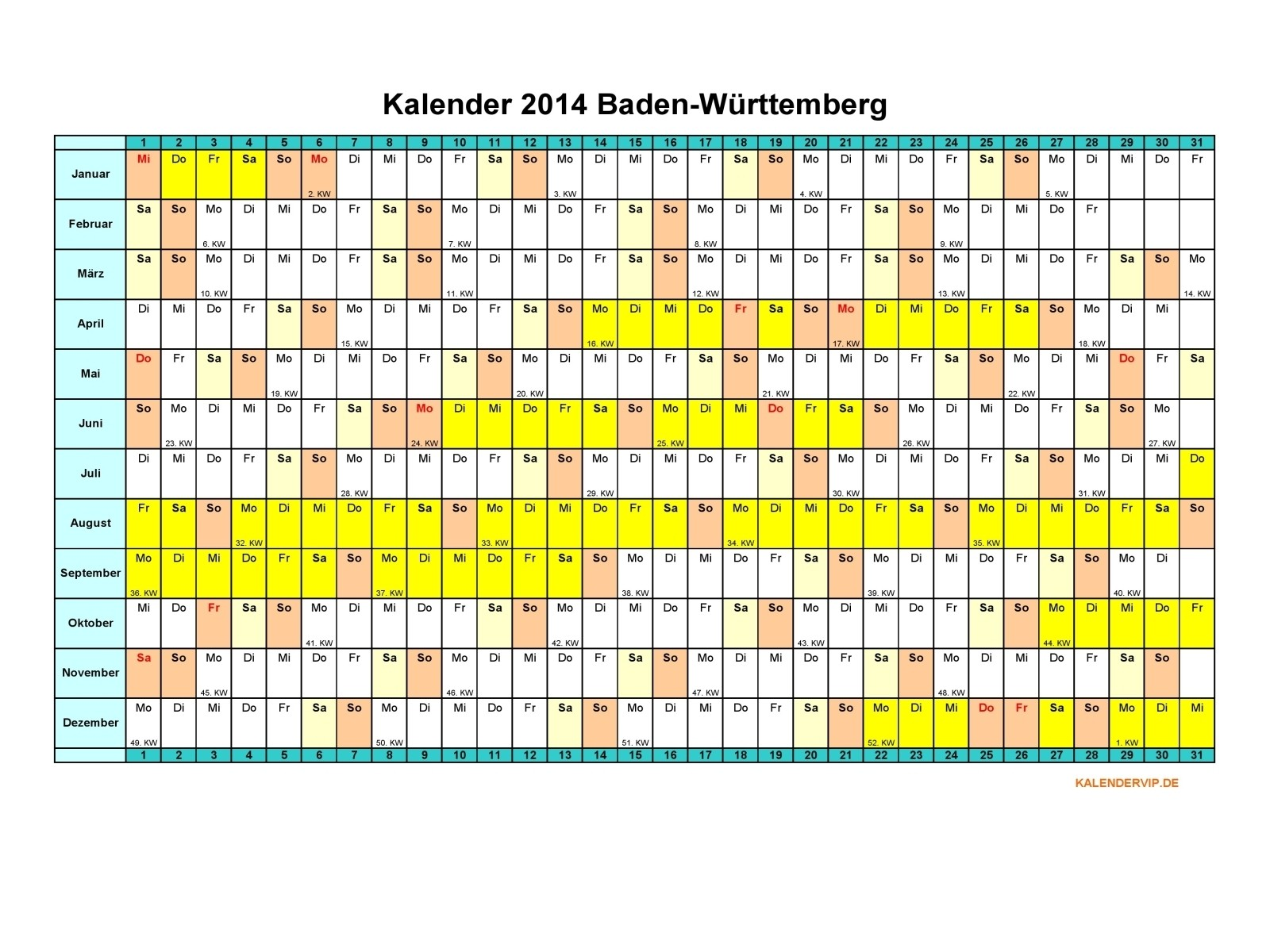 kalender 2014 baden wuerttemberg