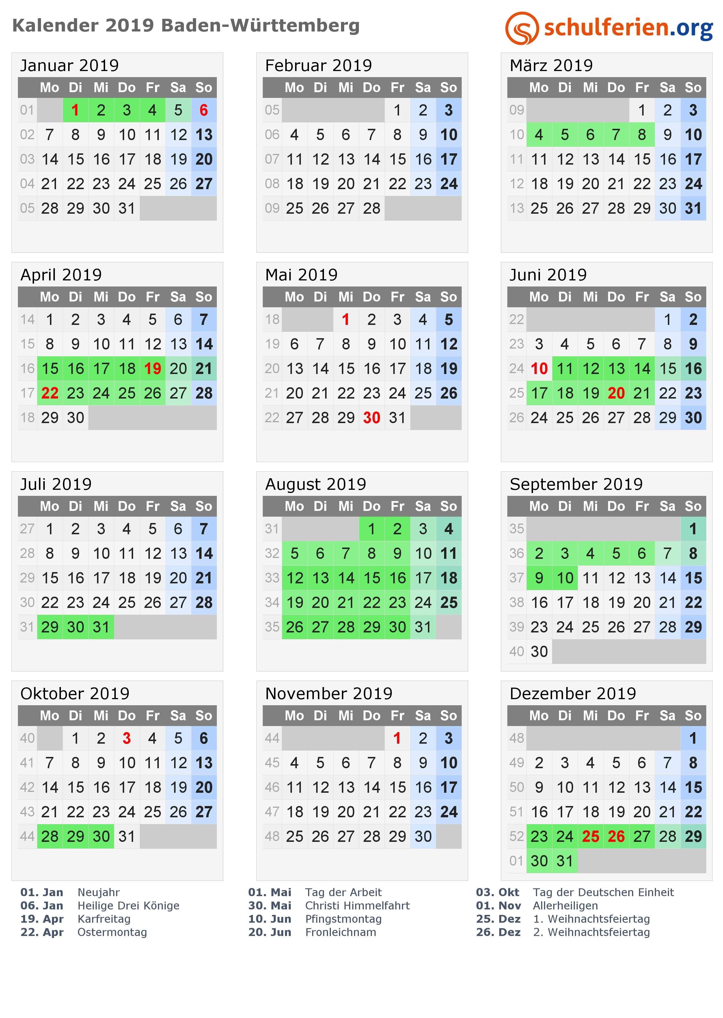 Kalender 2019 mit Ferien und Feiertagen Baden Württemberg