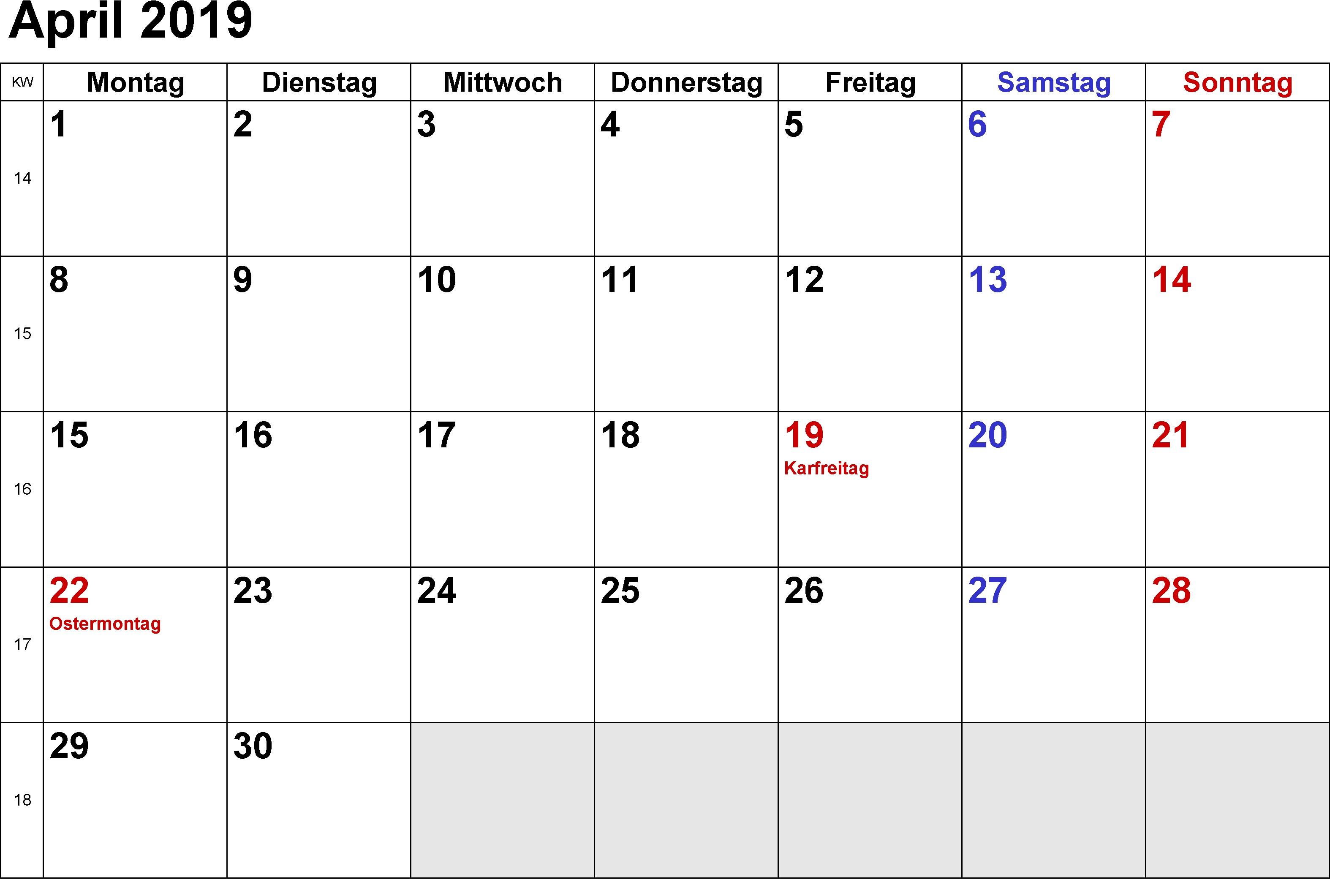 April 2019 Kalender mit Feiertagen