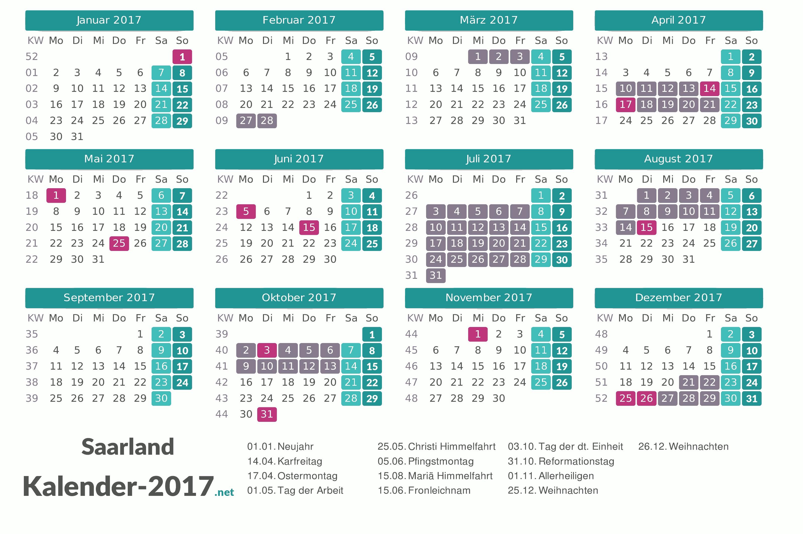 Ferien Saarland 2017