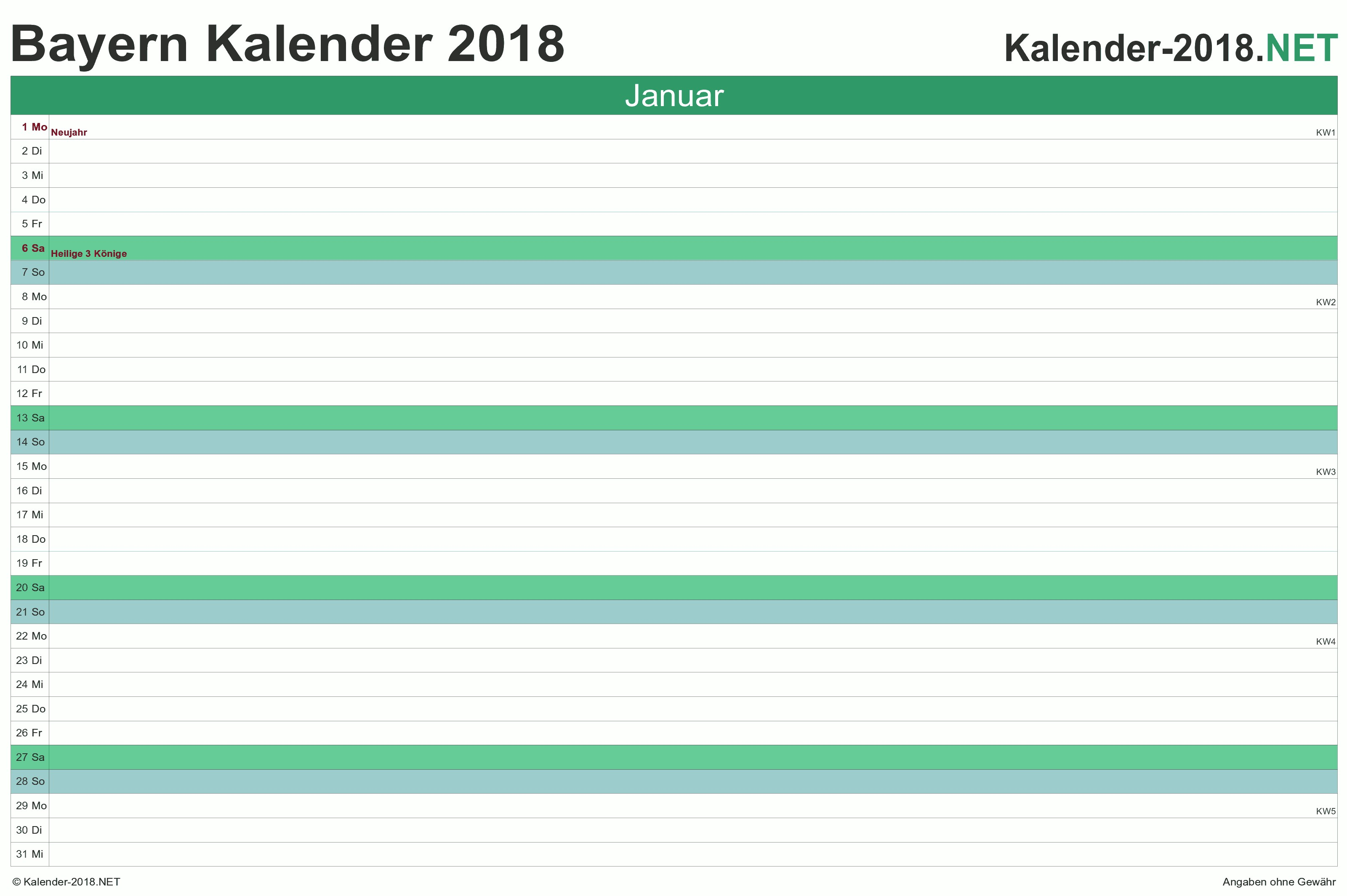 Bayern Monatskalender 2018