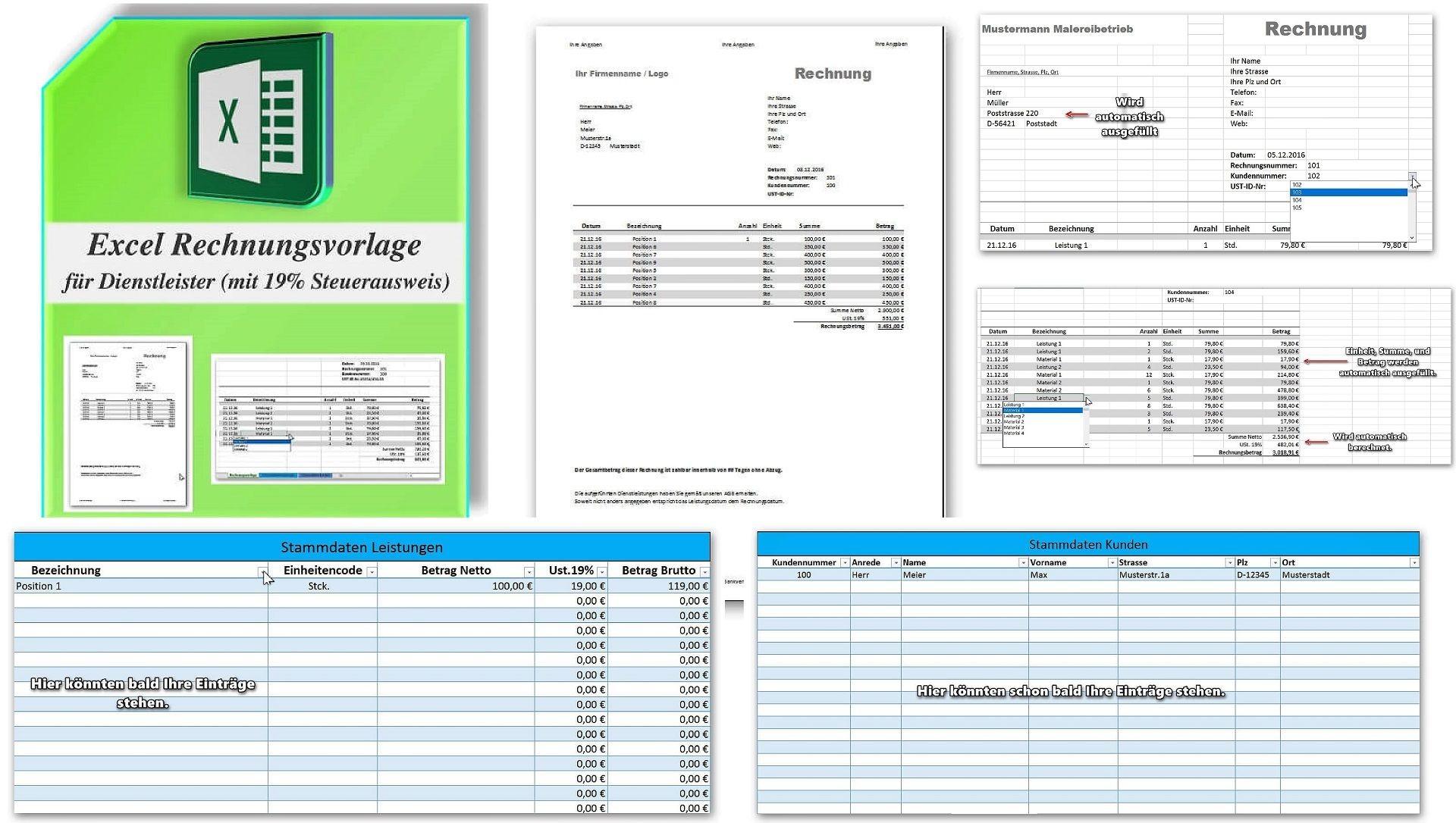 Excel Rechnungsvorlage für Dienstleister mit Ust Ausweis optional mit Rechnungsnachverfolgung