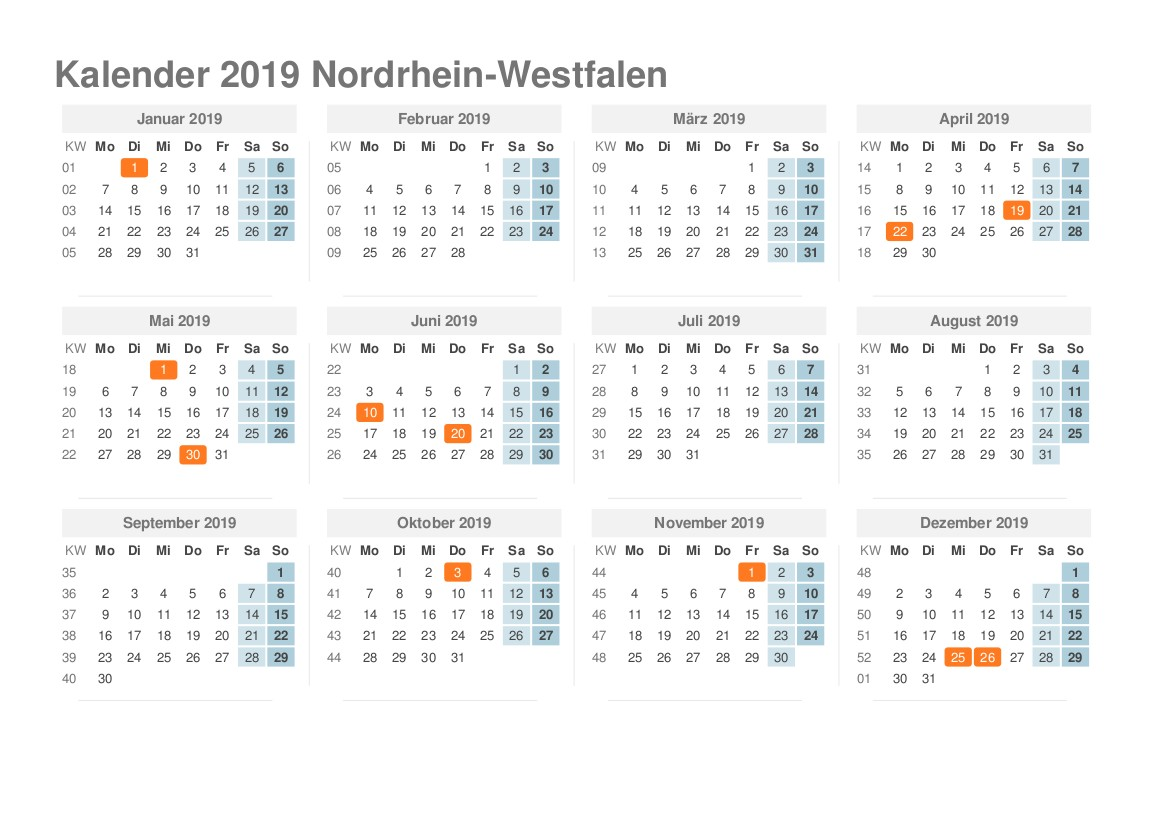 Kalender 2019 NRW Ausdrucken Ferien Feiertage Excel