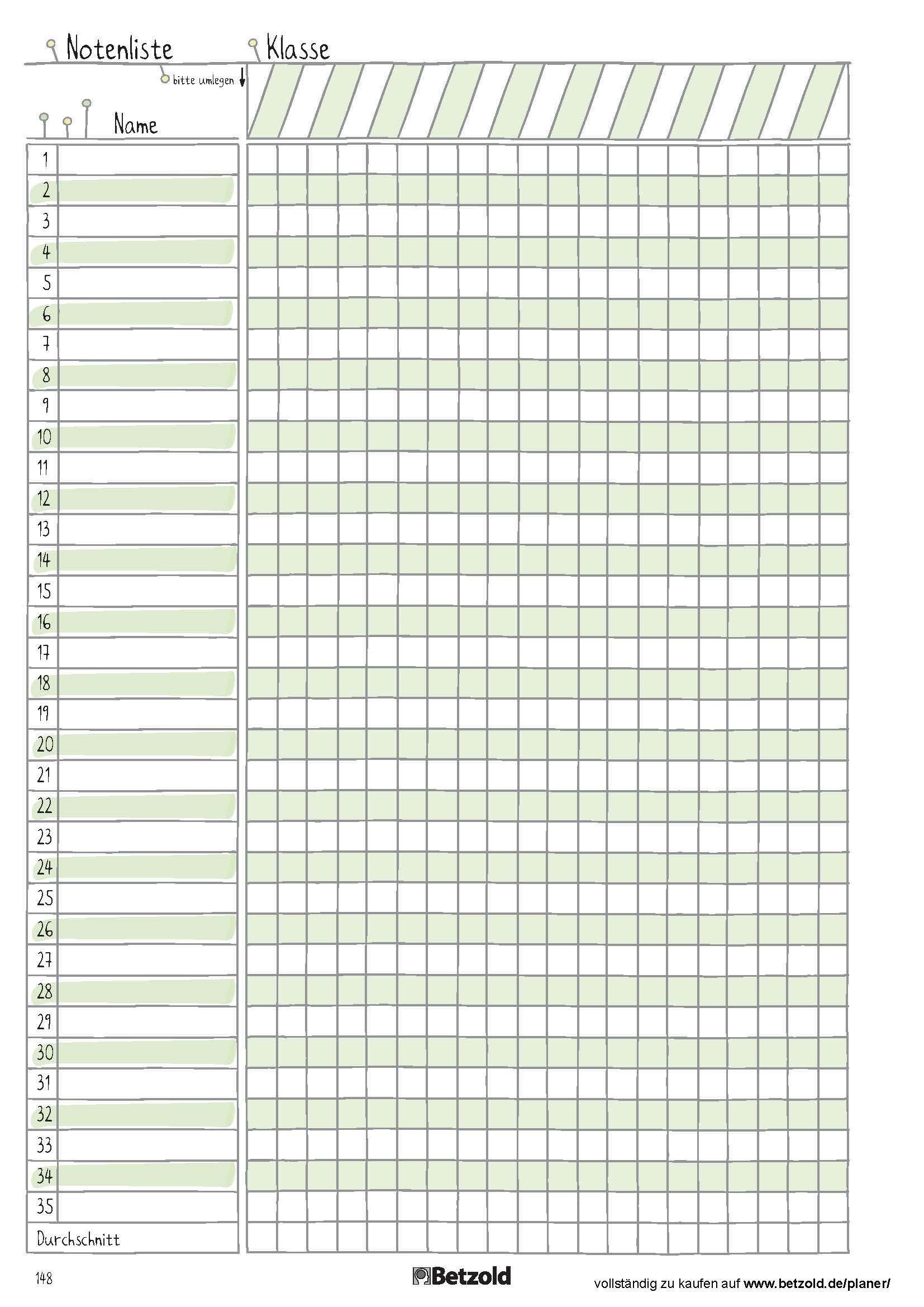 Notenliste Vorlage zum Ausdrucken aus dem Betzold Design Schulplaner Schuljahr 2018 2019 · Druckbarer Kalender 2019 Bayern