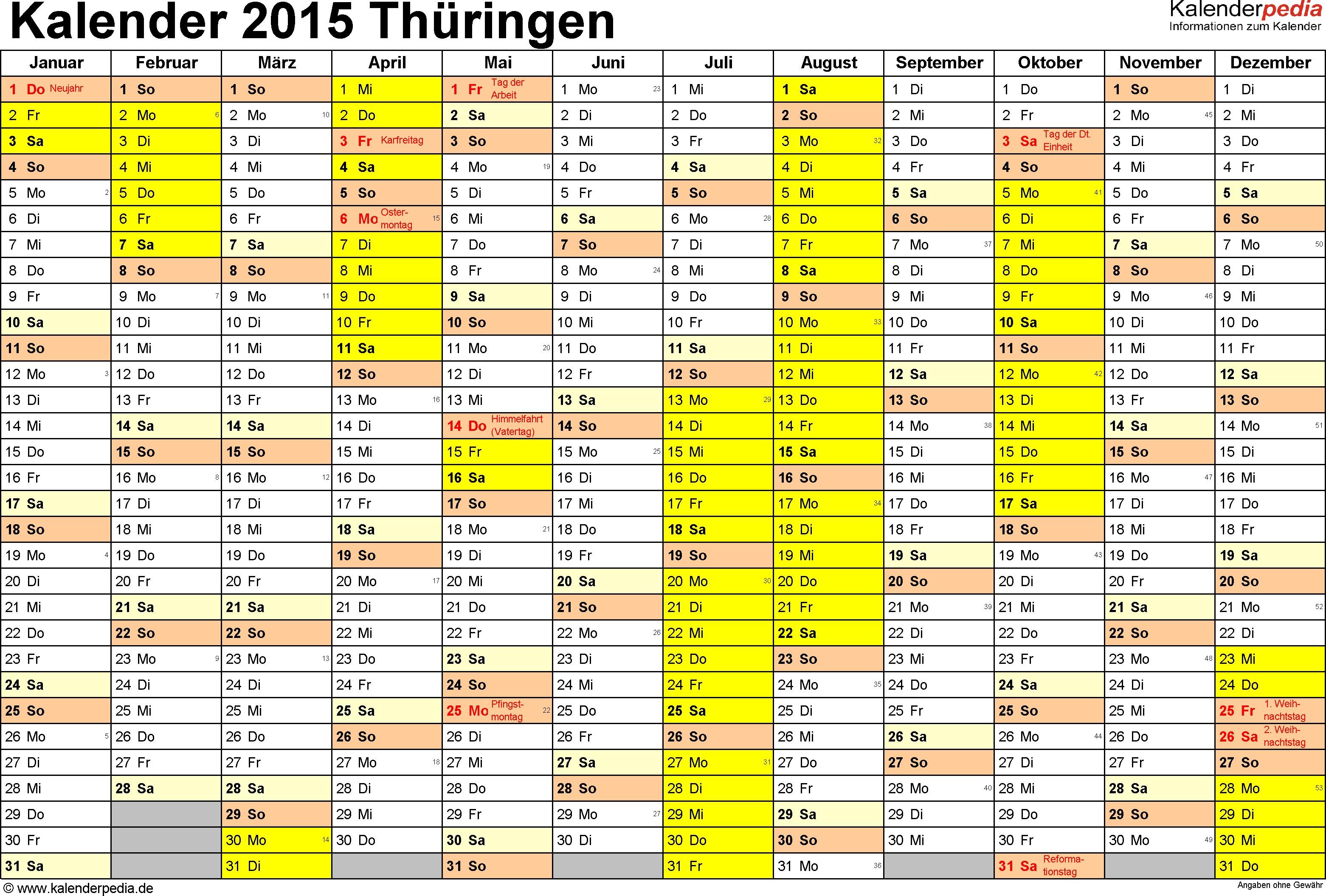 vorlage 1 kalender 2015 fr thringen als excel vorlagen querformat 1 seite