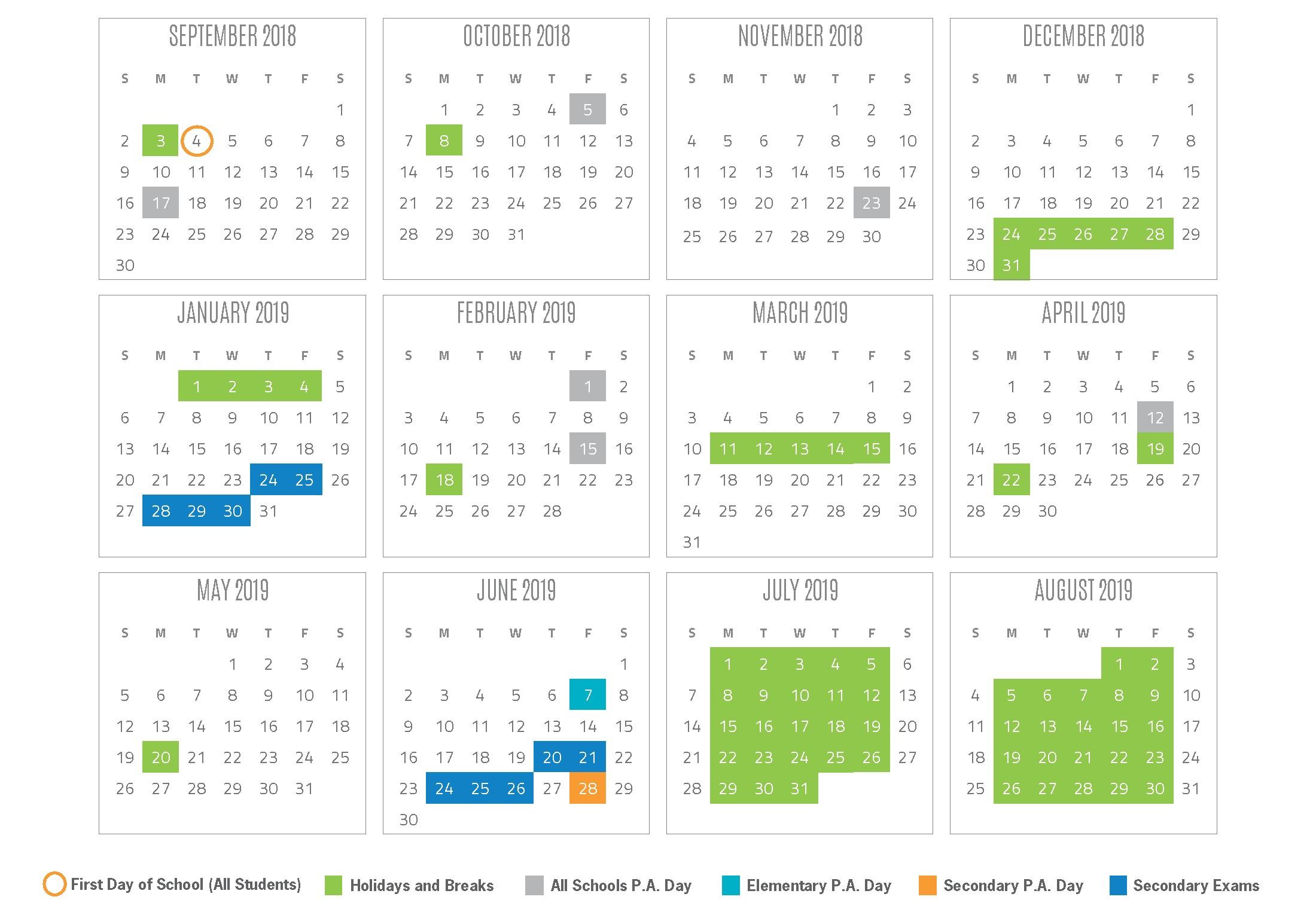 2018 and 2019 Calendar Planner Recientes 2018 2019 School Year Calendar