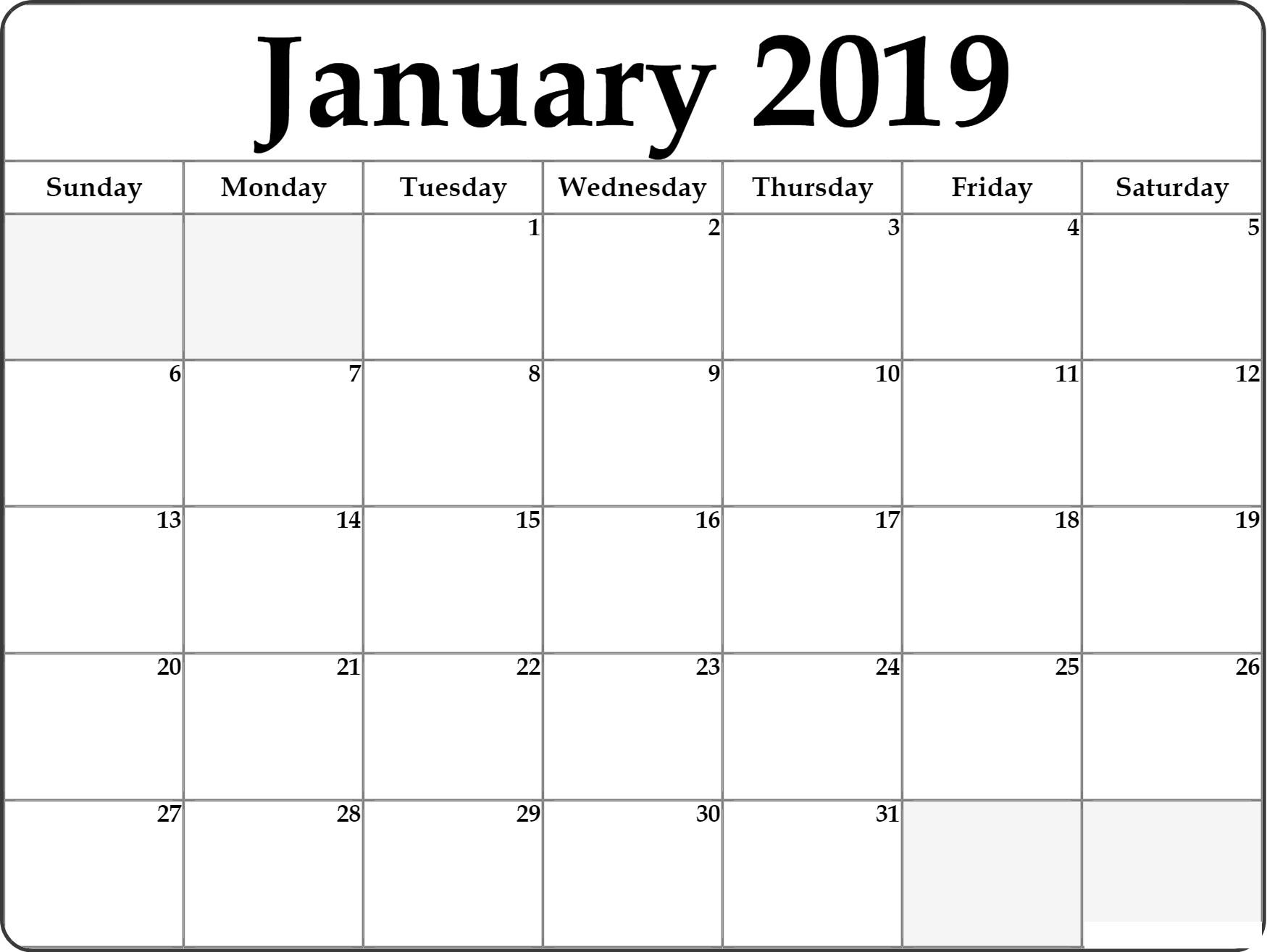 Free January 2019 Calendar Template Reminder
