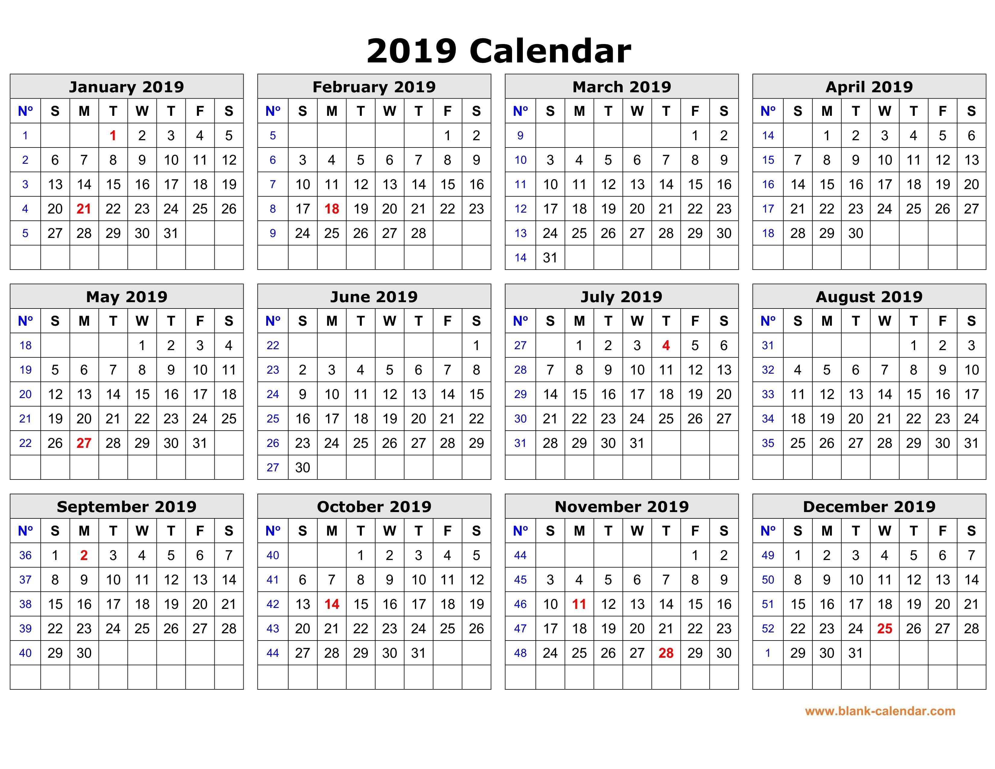 printable calendar year 2019 free printable calendar 2019 in one page clean