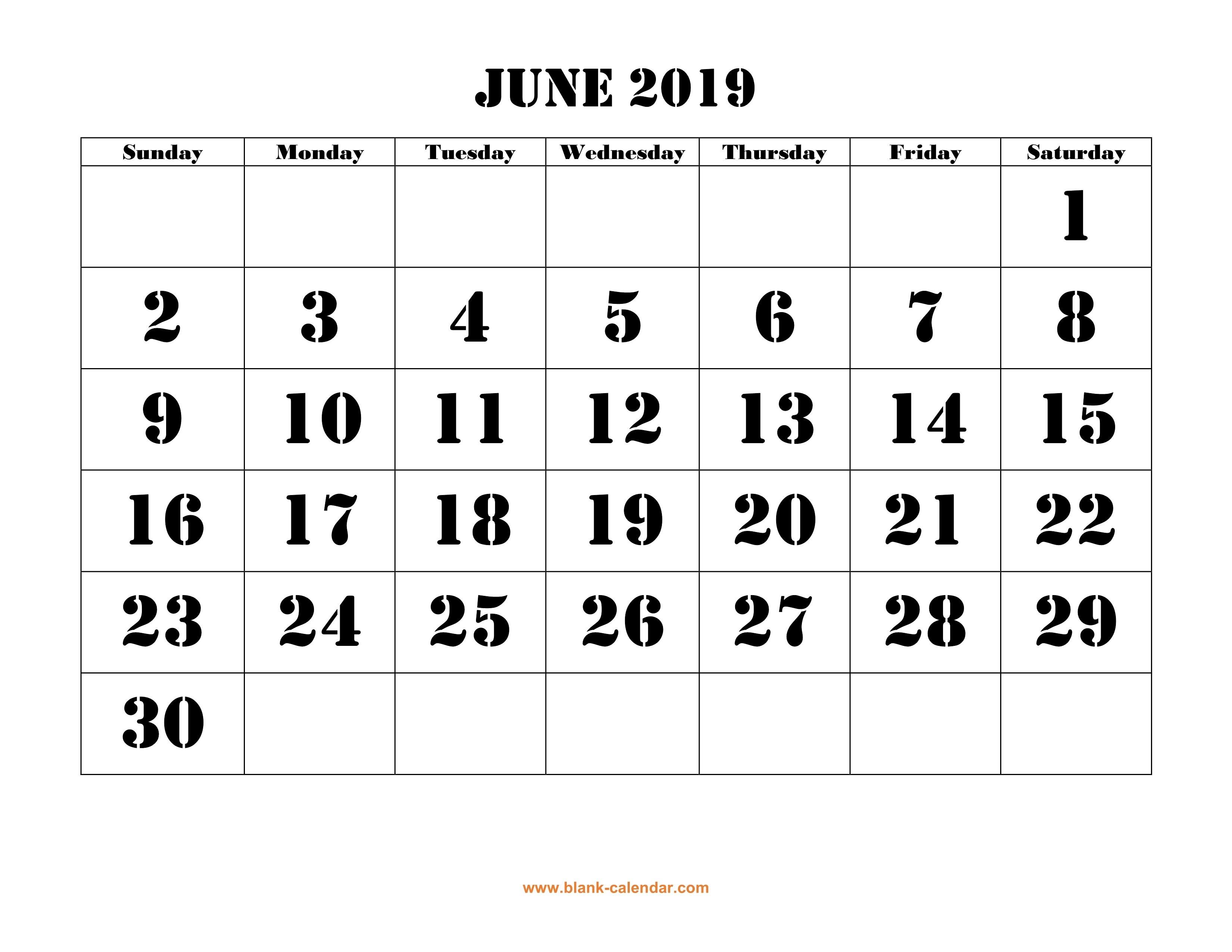 Free Download Printable June 2019 Calendar Font Design