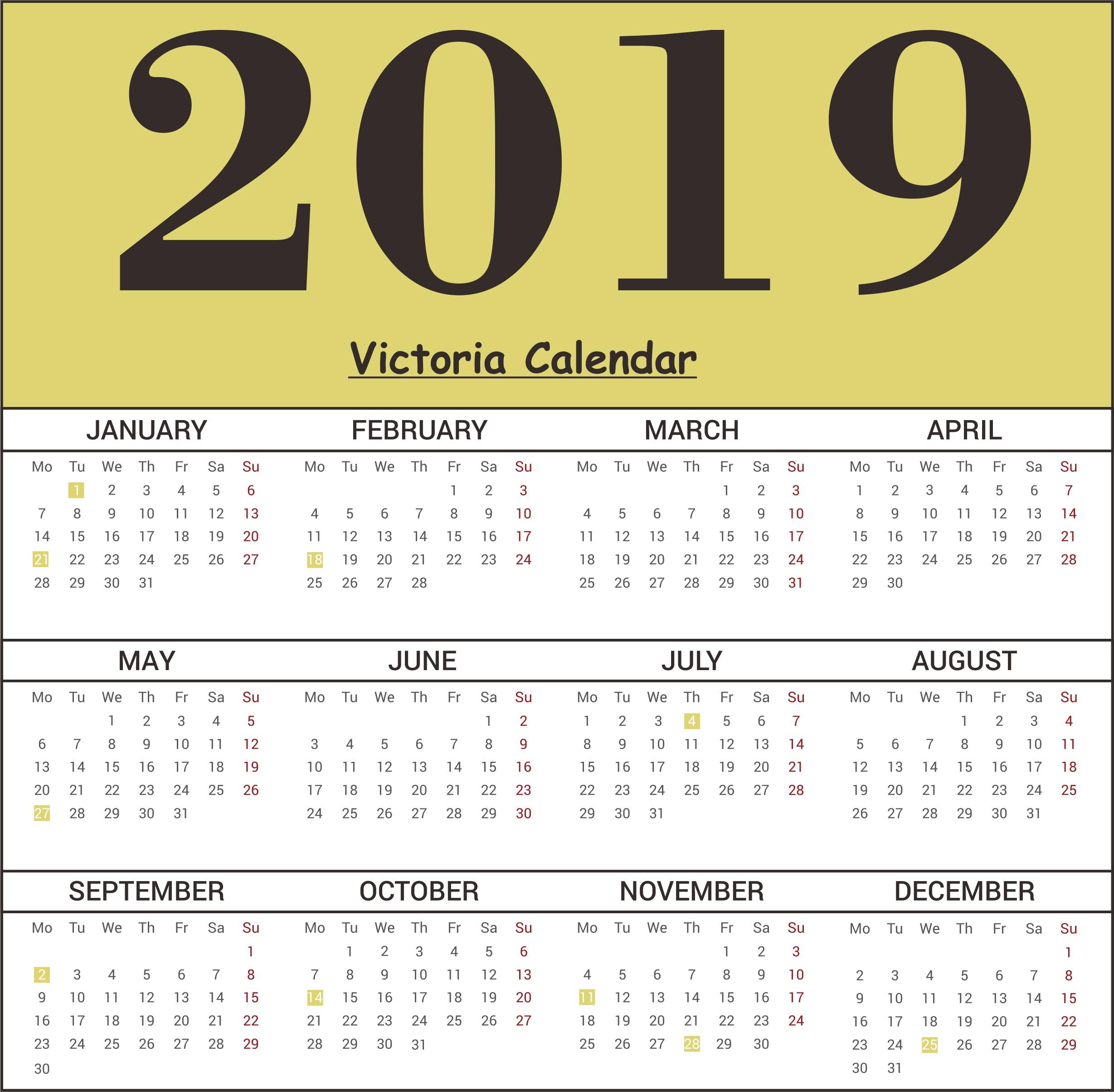 Free Victoria Calendar 2019 Template Pdf Excel Word Public