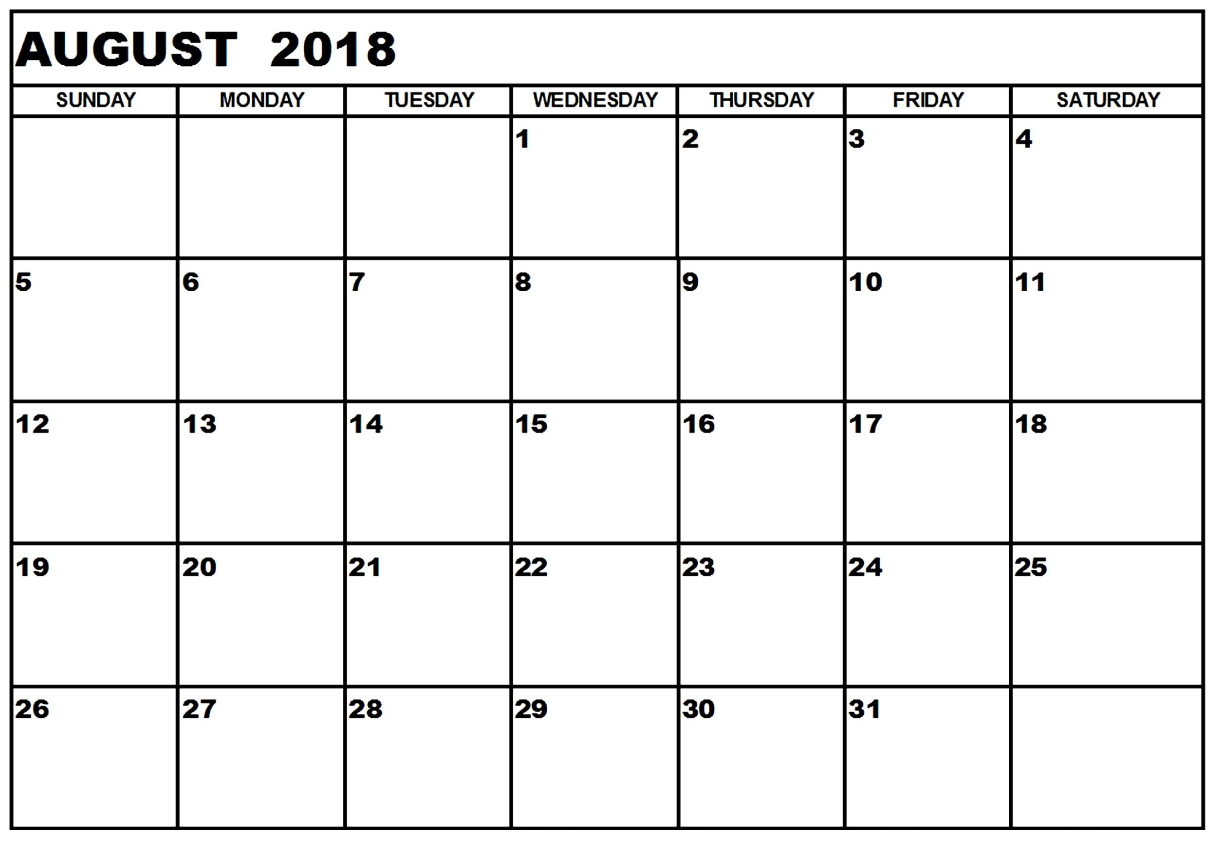 2018 Printable Calendar Template Excel Pdf Ms Word Doc Holidays Fair