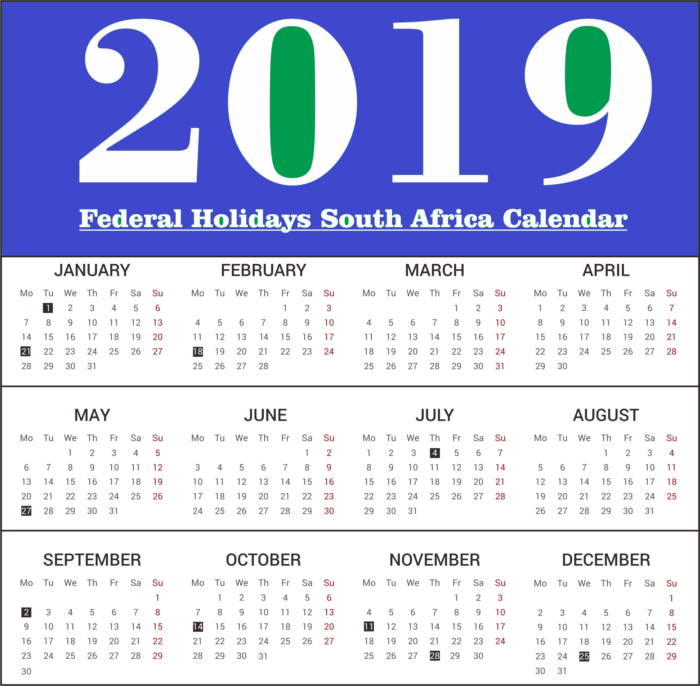 2019 south africa federal holidays calendar