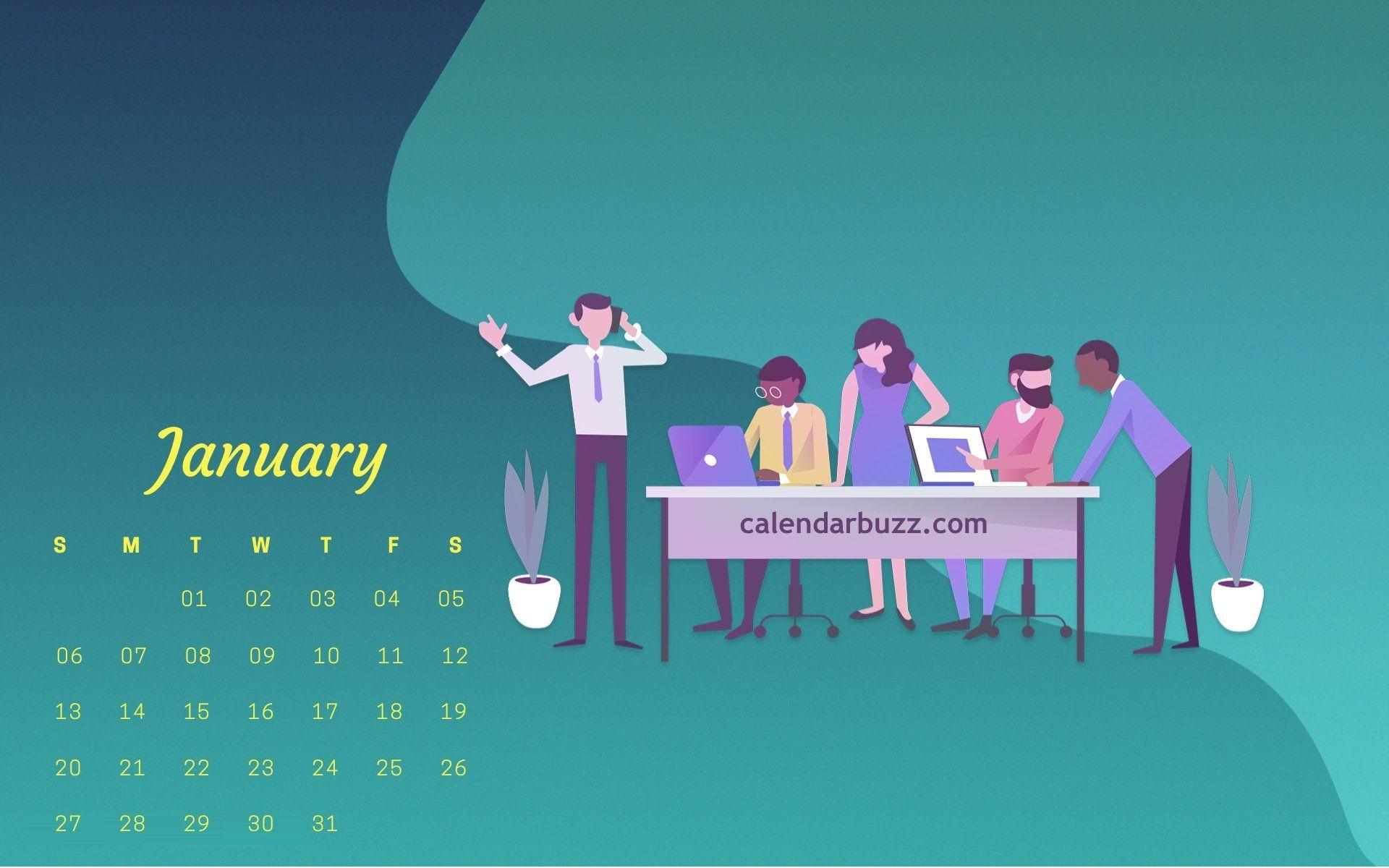 stylish january 2019 calendar wallpaper