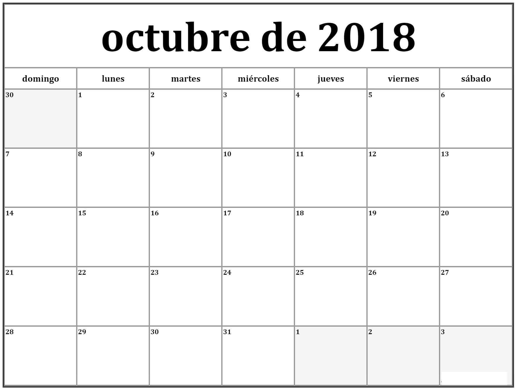 Calendario Octubre 2018 Colombia Word