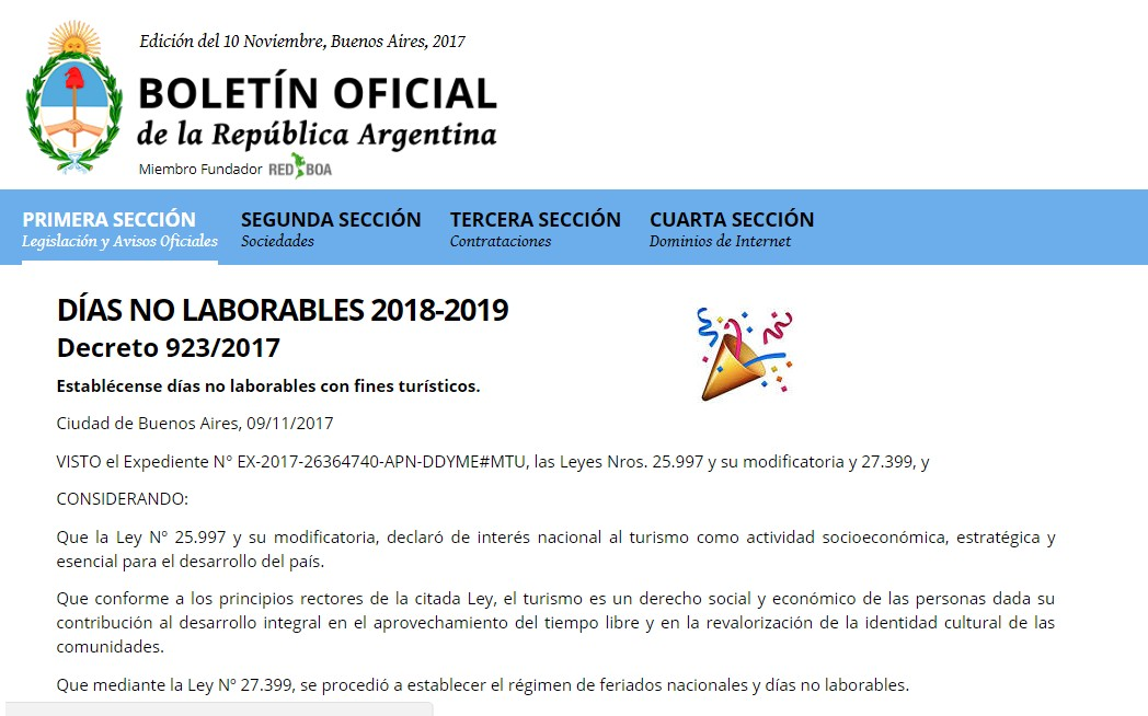 ya se publicaron las fechas de los feriados puente 2018 y 2019