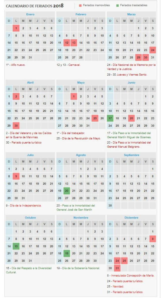 feriados 2018 asi quedo el calendario