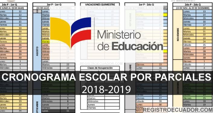 cronograma escolar por parciales 2017 2018 quimestres mineduc costa
