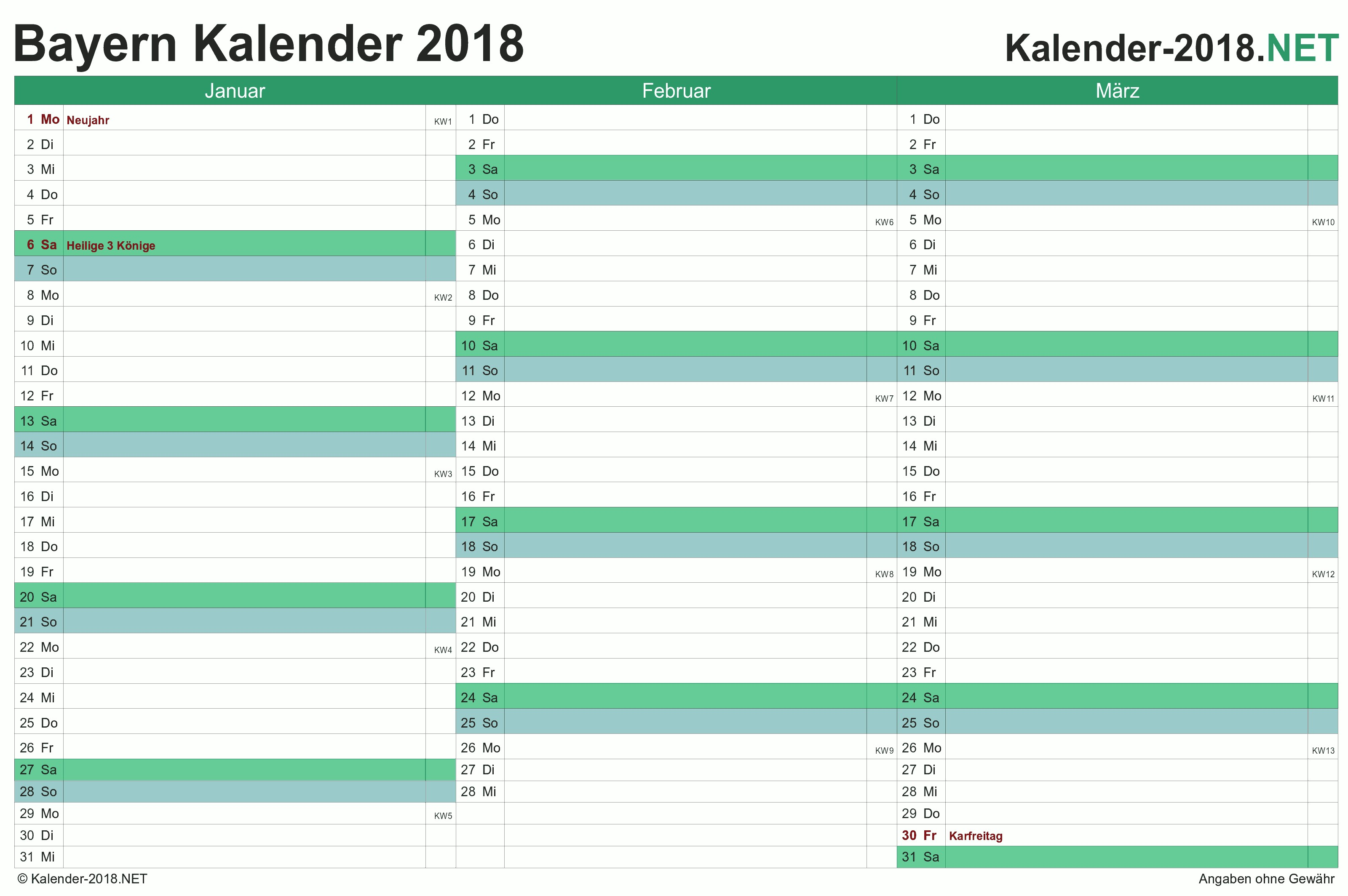 Bayern Quartalskalender 2018