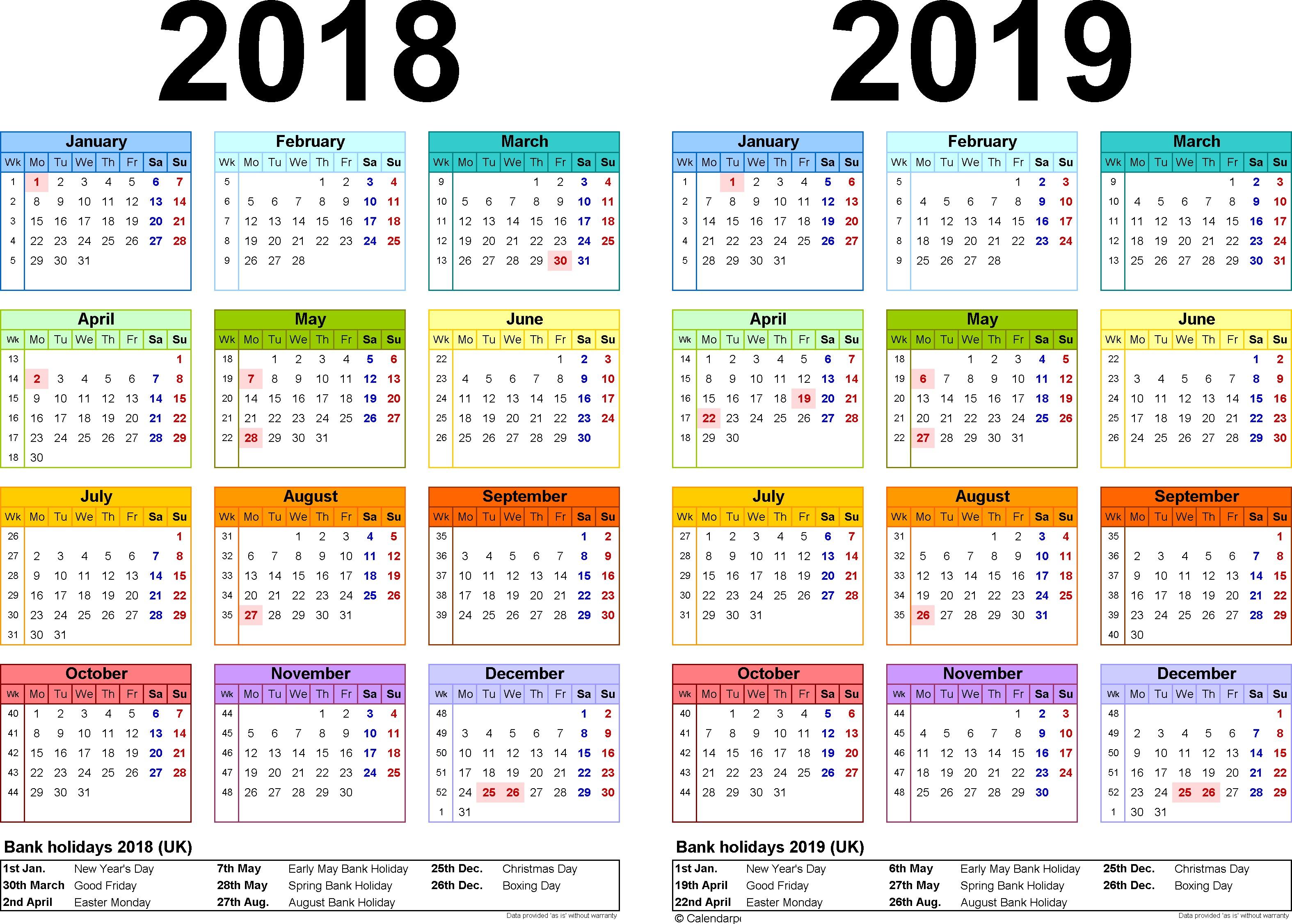 Free Printable 2018 And 2019 Calendar Template 2019 Printable