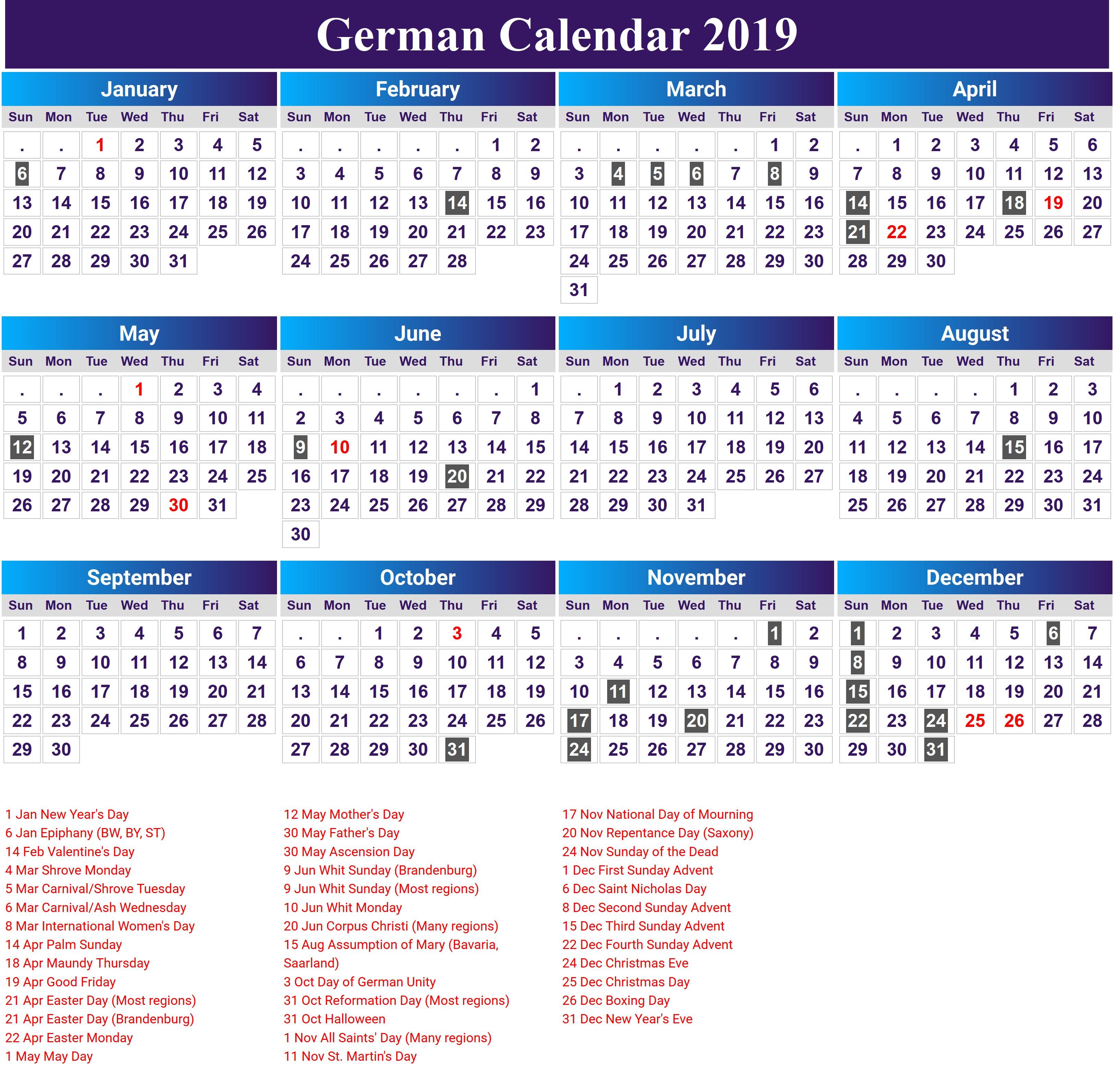 Kalender 2019 Calendar 2018 Calendar