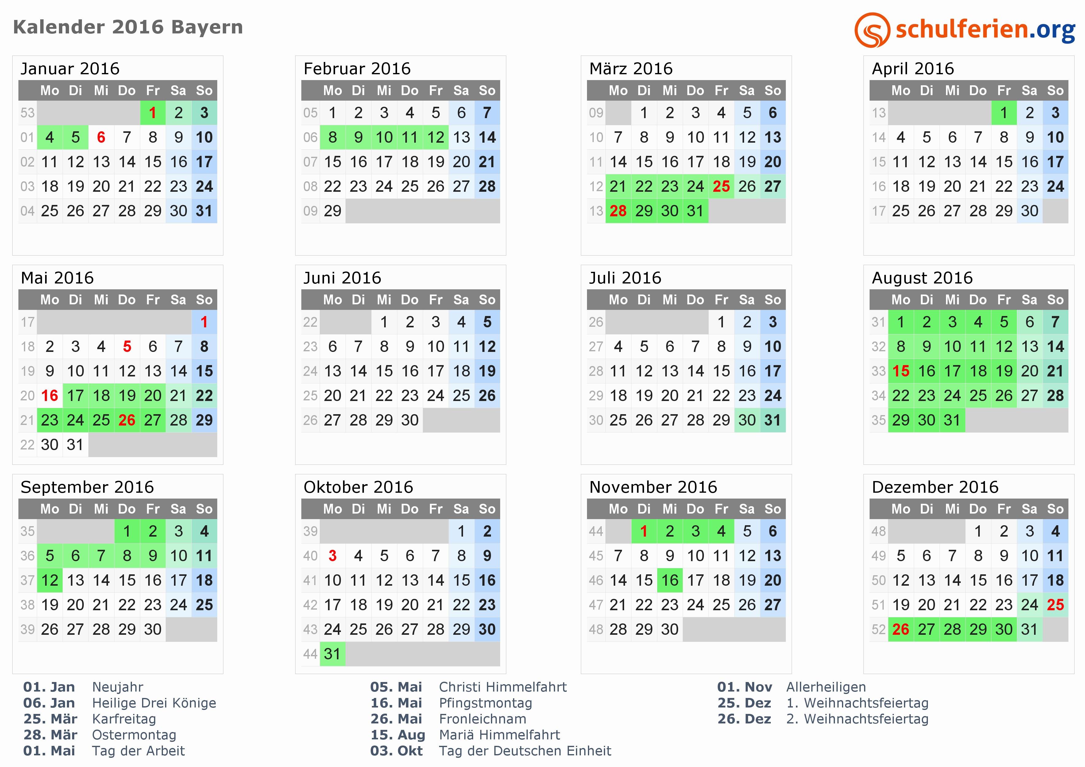 Kalender 2016 Mit Feiertagen Sachsen Inspirierend Kalender 2016 Ferien Bayern Feiertage