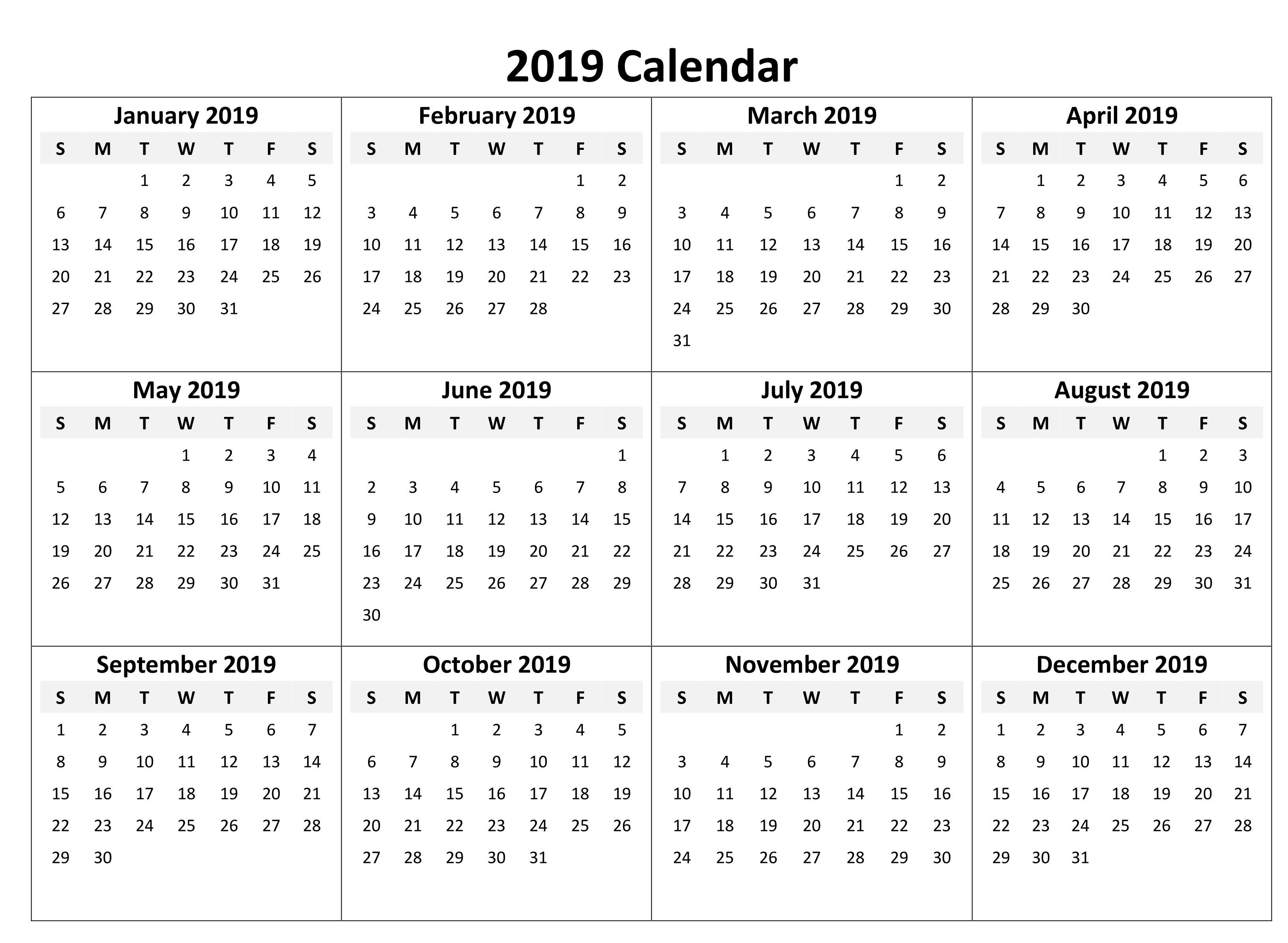 Free Yearly Calendar Editable 2019 Pdf Excel Word June 2018