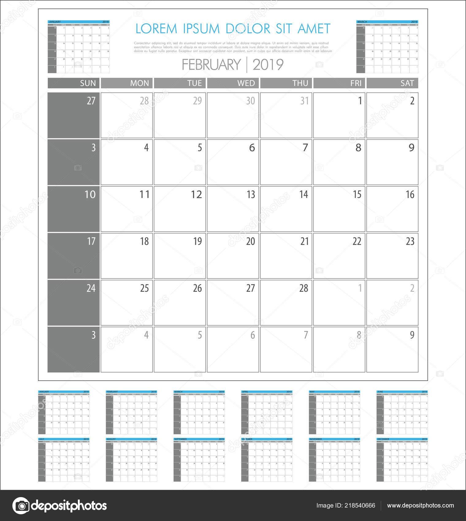 Kalendarz planowania 2019 roku prosty minimalistyczny wygląd szablonu — Wektor od totallyout