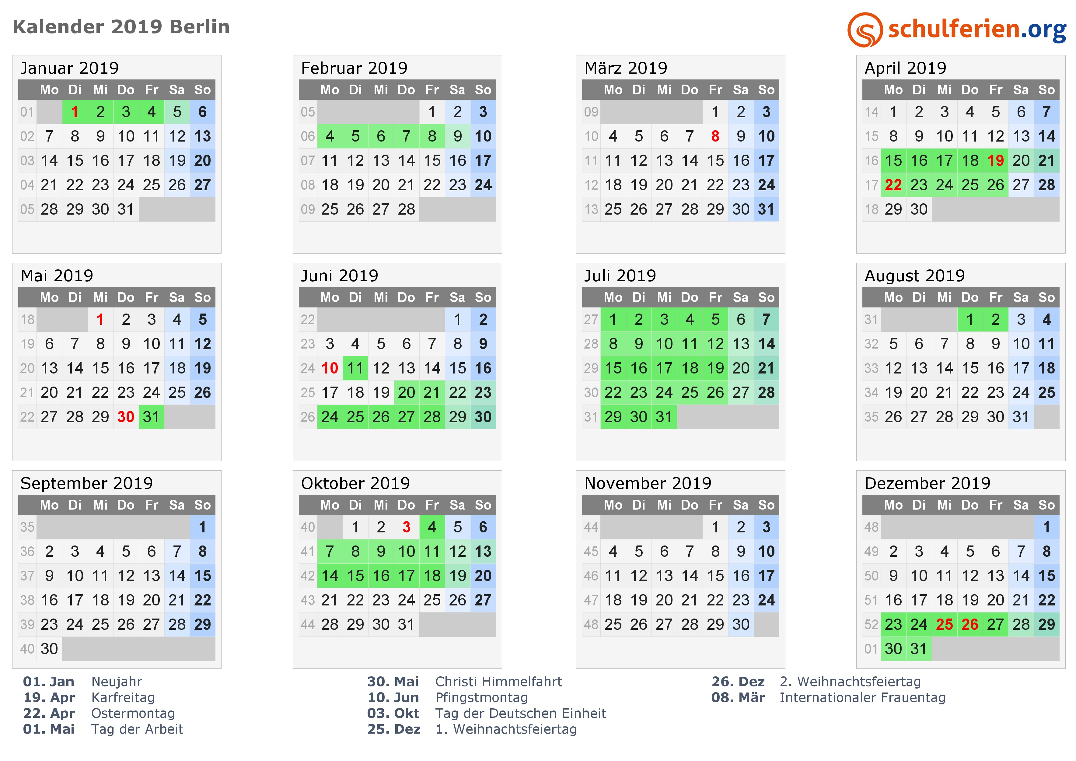 Kalender 2019 mit Ferien und Feiertagen Berlin