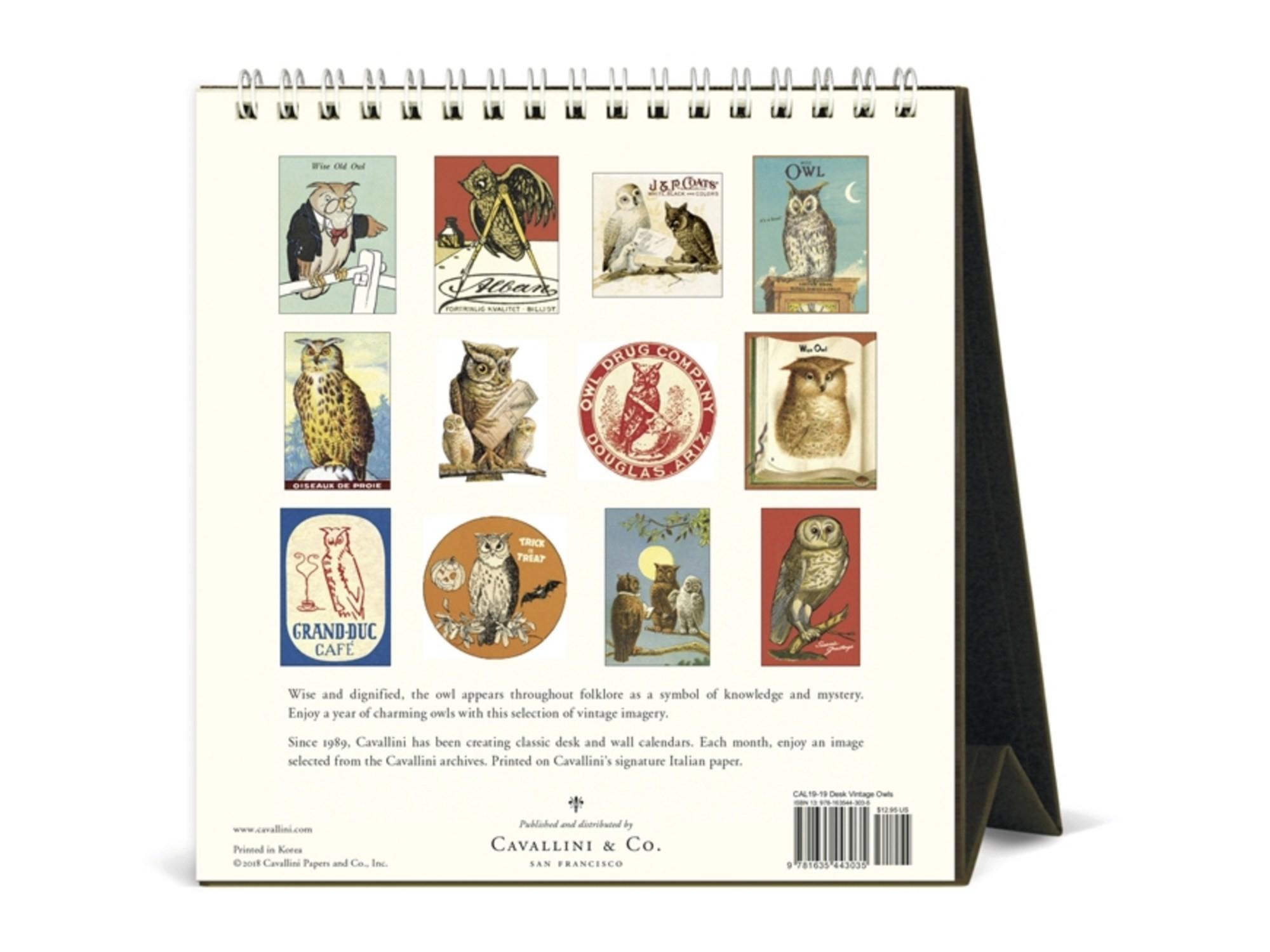 Desk Calendar Planner Cavallini 2019 Desk Calendar Vintage Owls