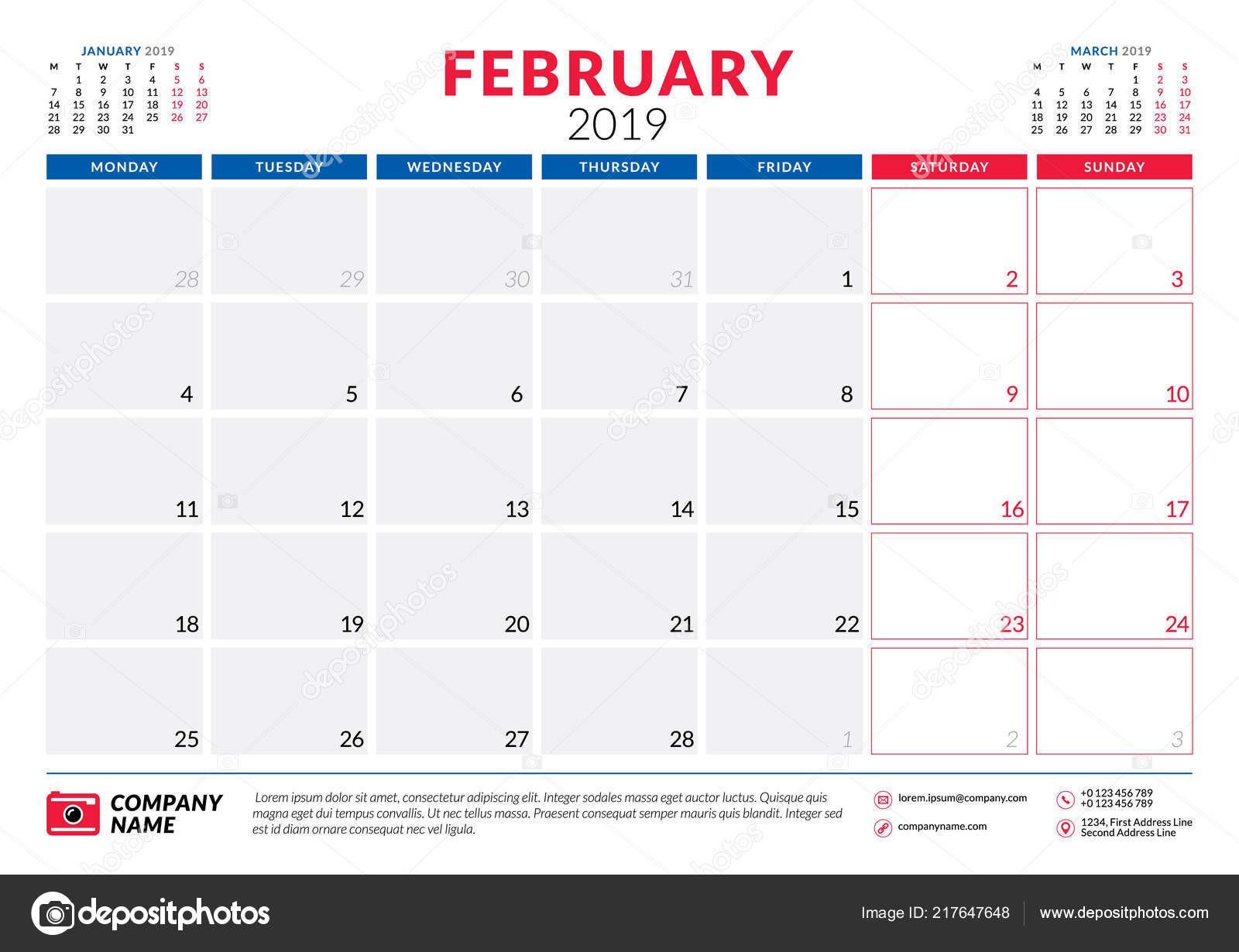 Lutego 2019 Kalendarz terminarz papeterii szablon projektu Ilustracja wektorowa Tydzień rozpoczyna się w poniedziałek — Wektor od AntartStock