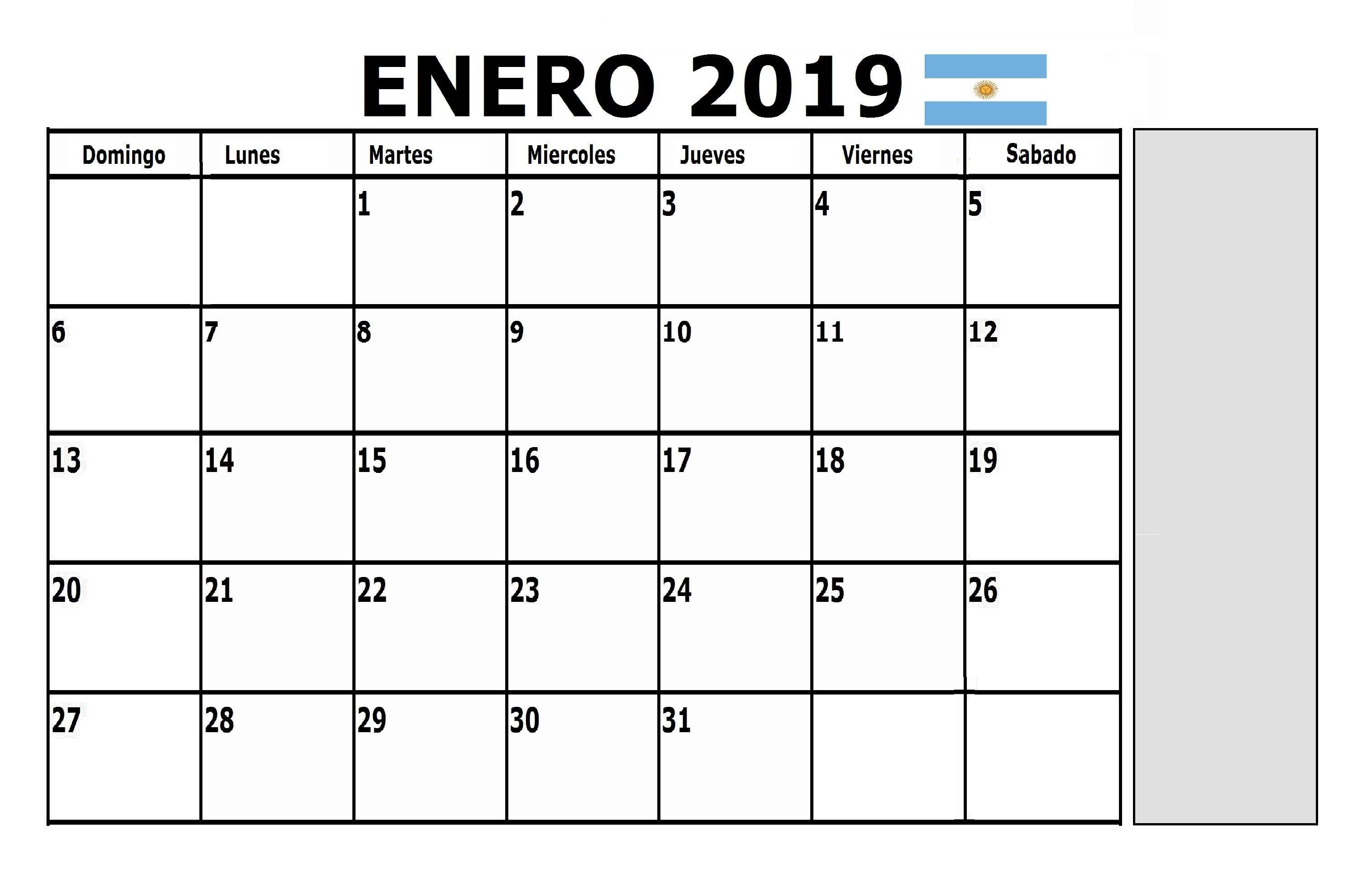 Calendario Enero 2019 Argentina