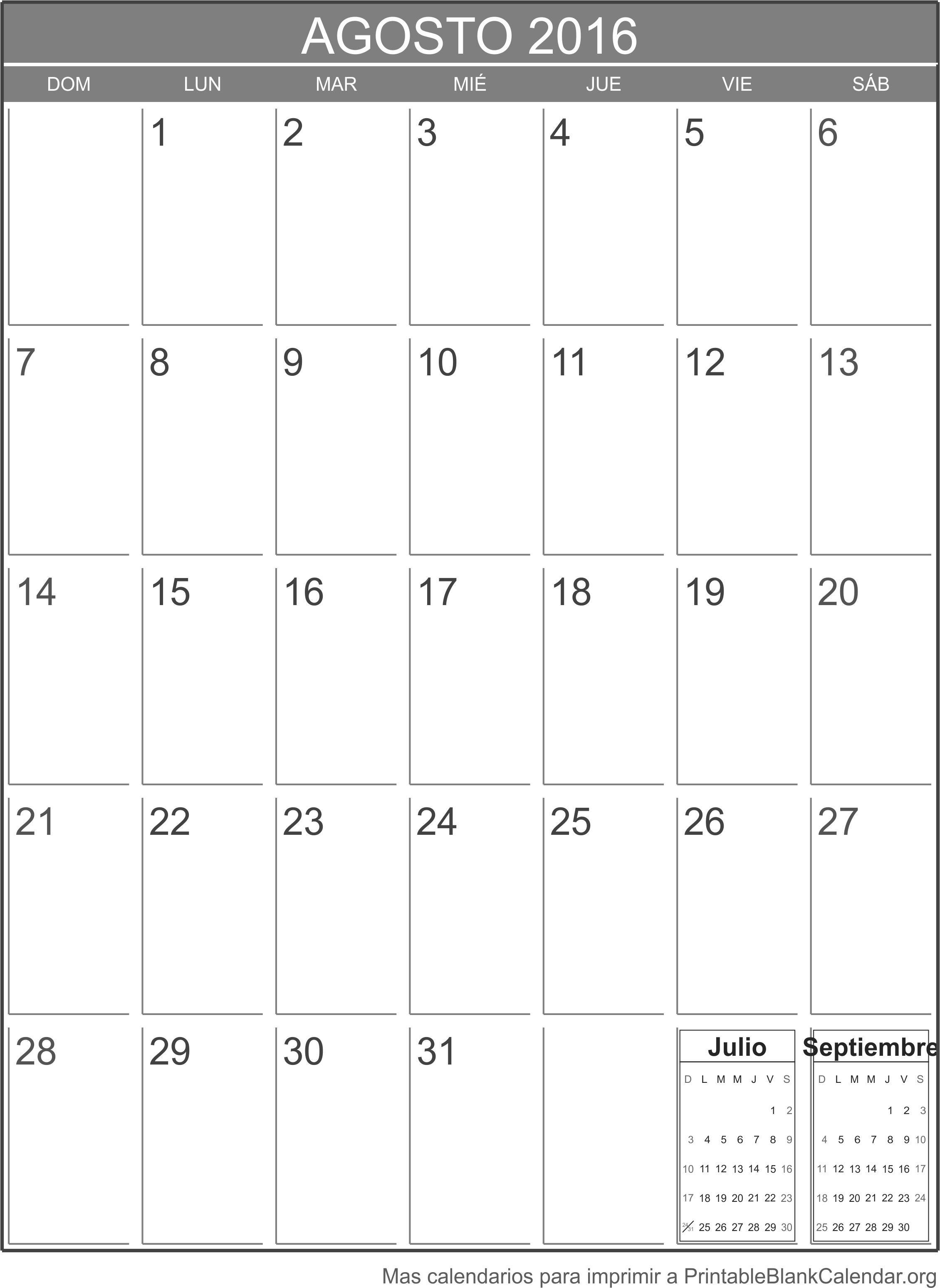 calendario para imprimir agosto 2016
