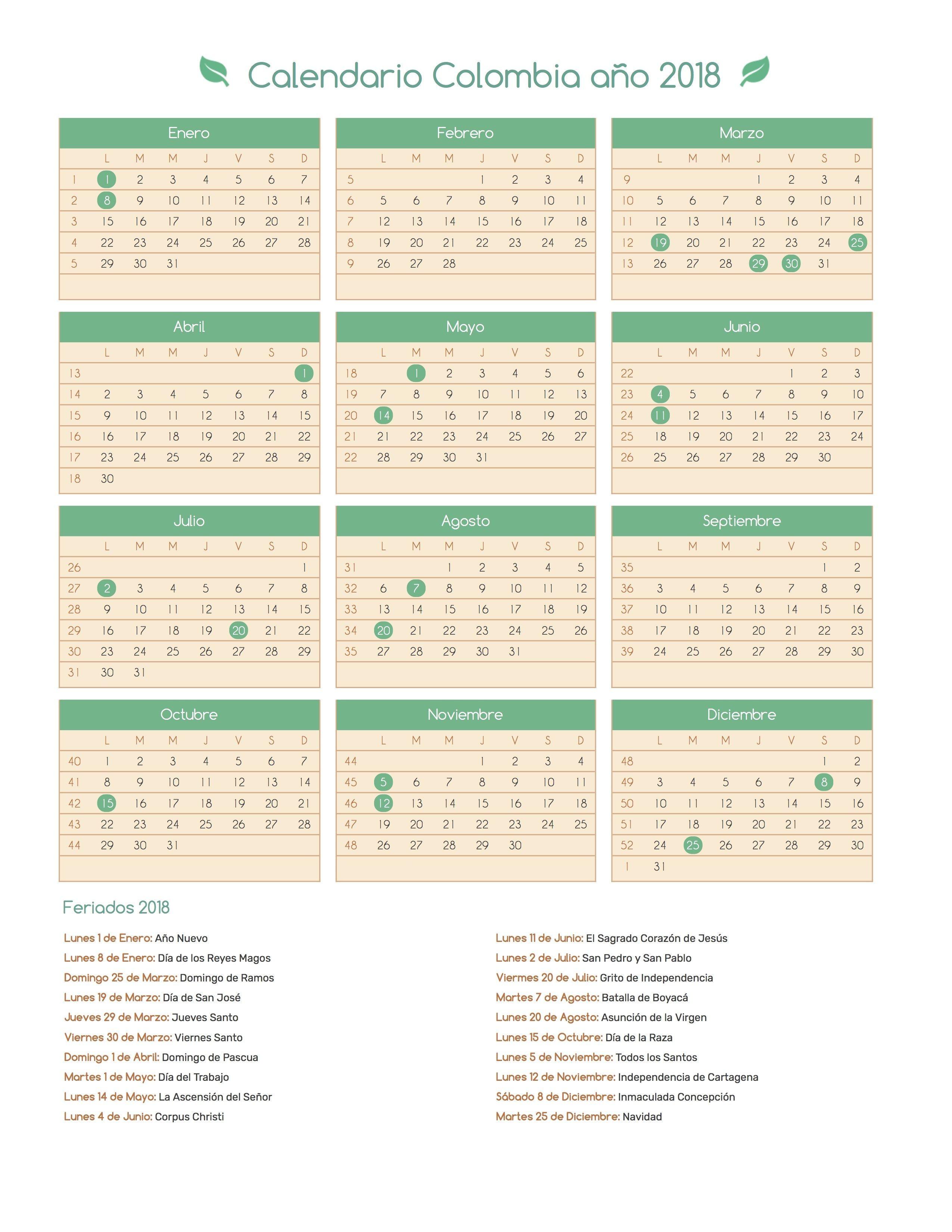 calendario 2018 colombia con festivos calendario colombia ao 2018 feriados calendario de
