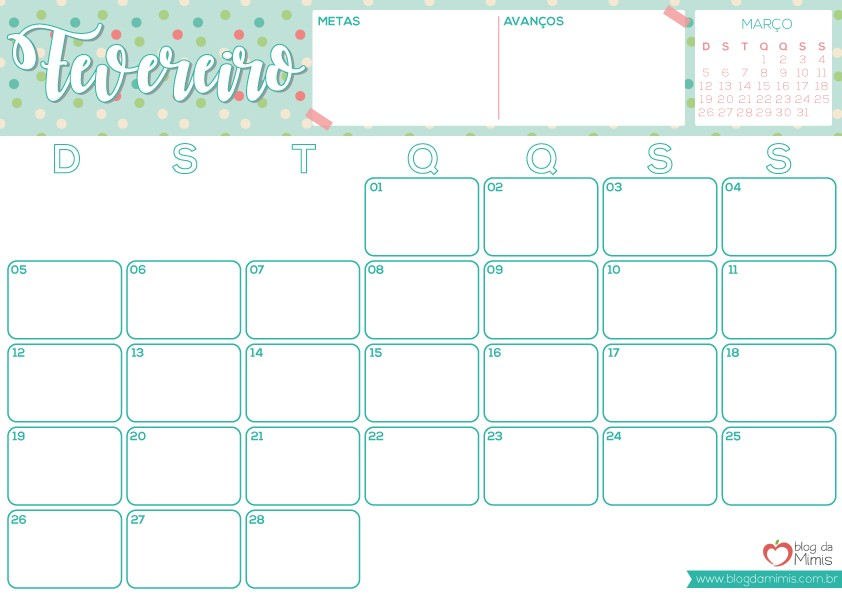 Agenda Mimis 2017 organizador mensal para imprimir Blog